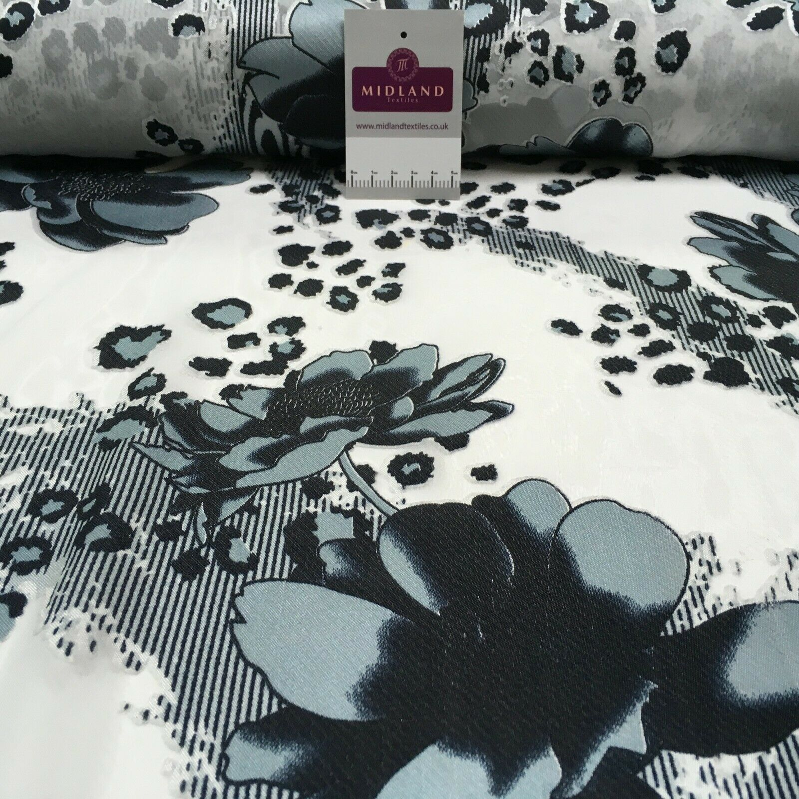Black white floral animal print opal chiffon Fabric M1400-14 Mtex
