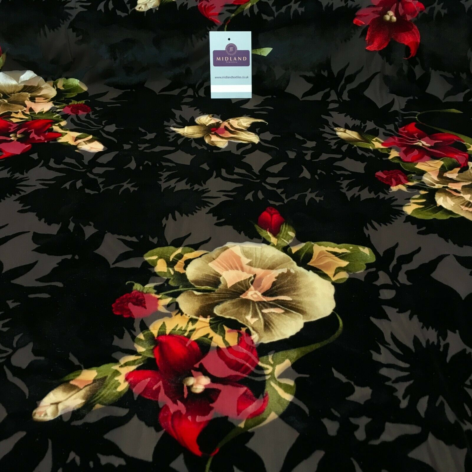 Brown Black Burnout Vintage Floral velvet dress Fabric 147 cm wide MA1094-2