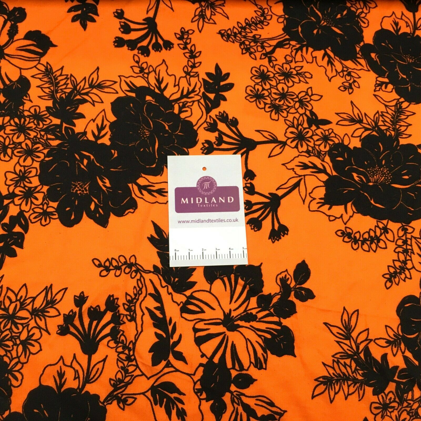 Orange black floral viscose dress Fabric M1400-20 Mtex