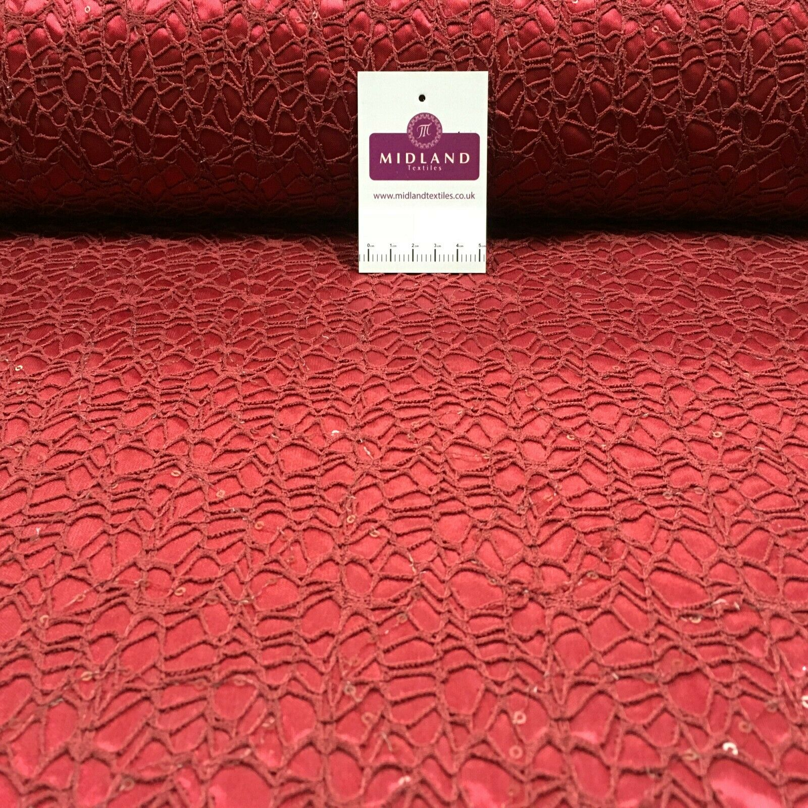 Wine sequin bonded lace dress Fabric M1400-27 Mtex
