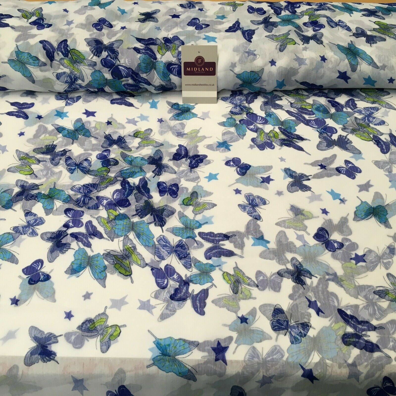 Blue and White Crinkle Georgette Chiffon Fabric 150cm Wide MK1090-9