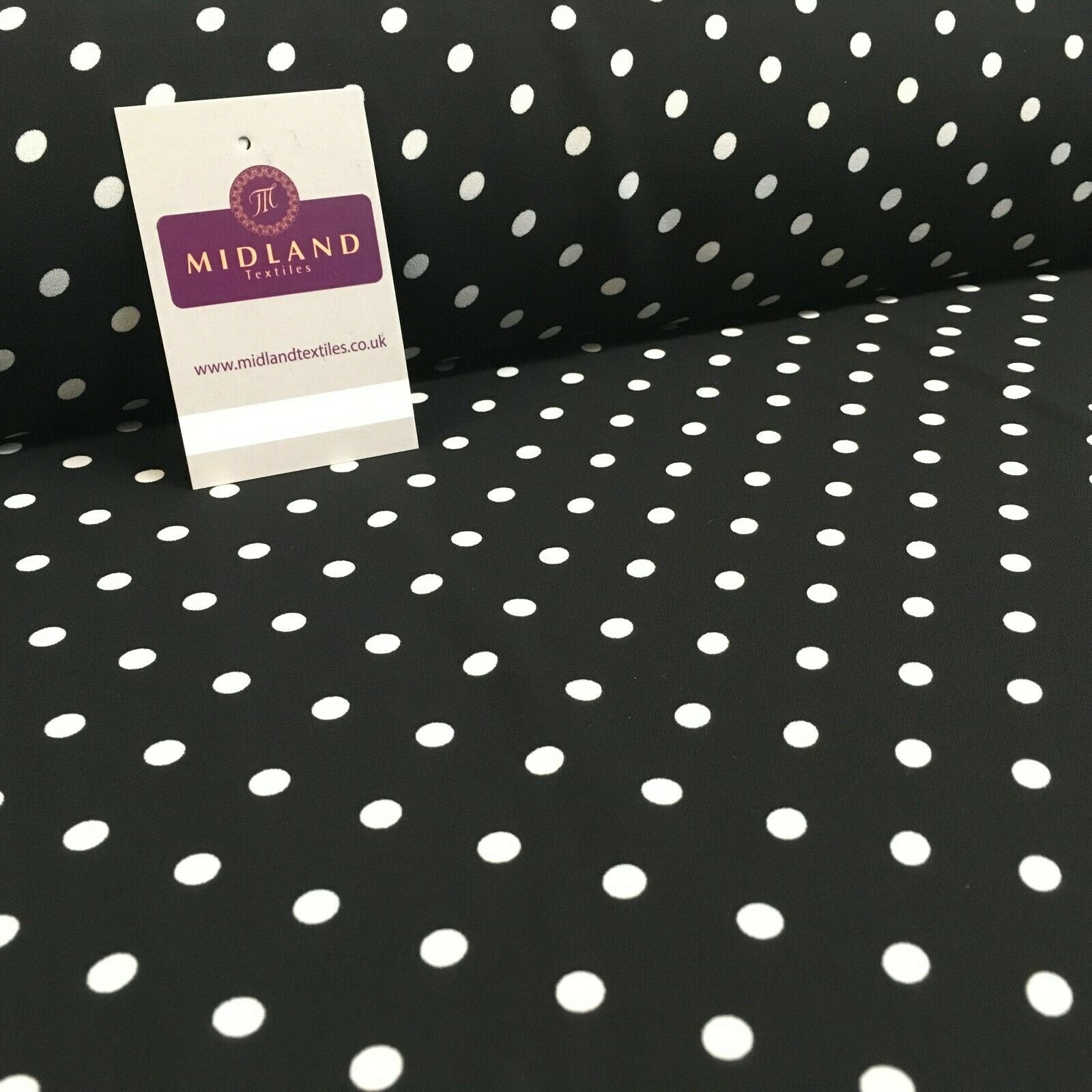 Black 6mm Polka Dot and Plain Georgette Dress Fabric 150 cm MY1245 Mtex