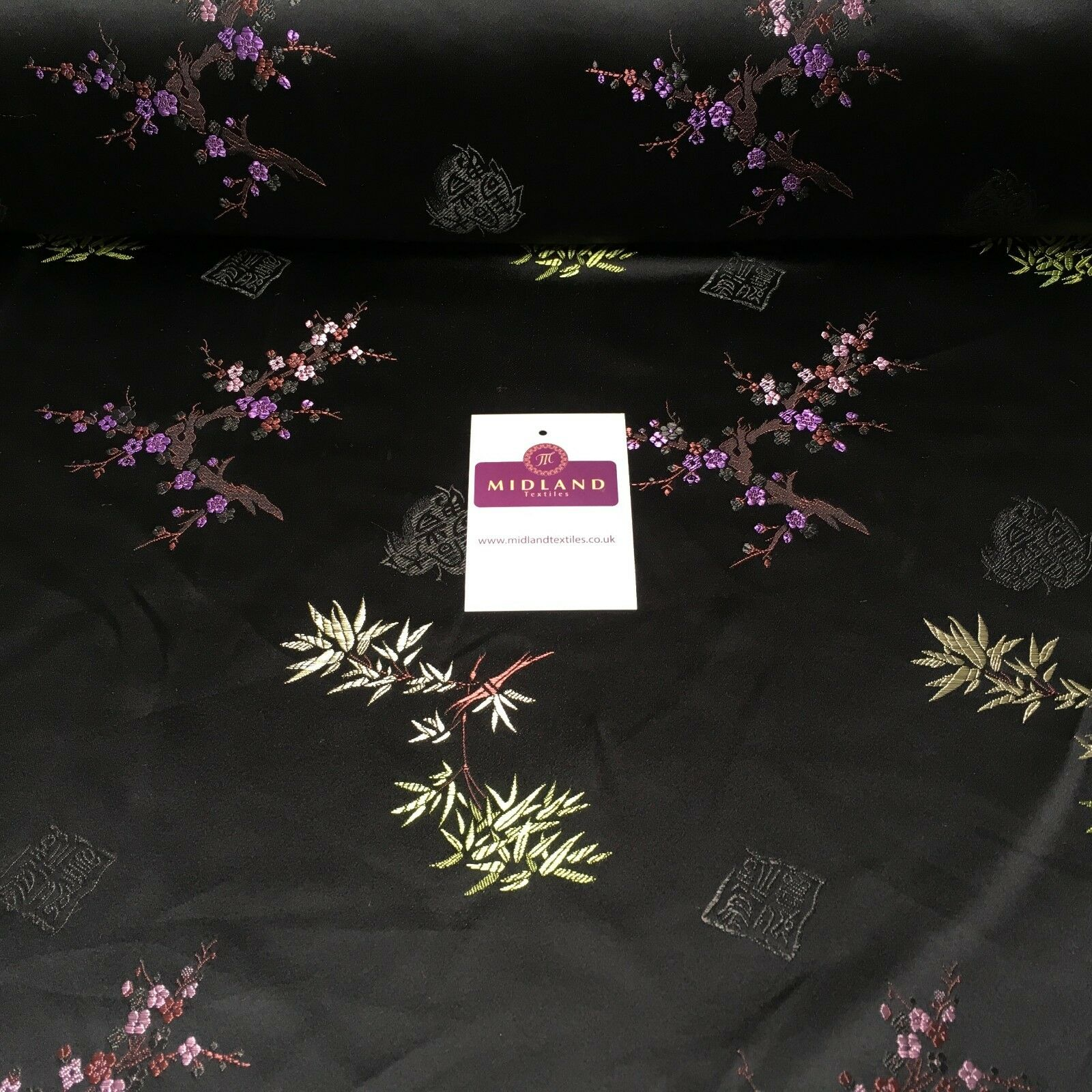 "Black Chinese Floral Blossom Oriental Satin Brocade Dress Fabric 44"" M395-19"
