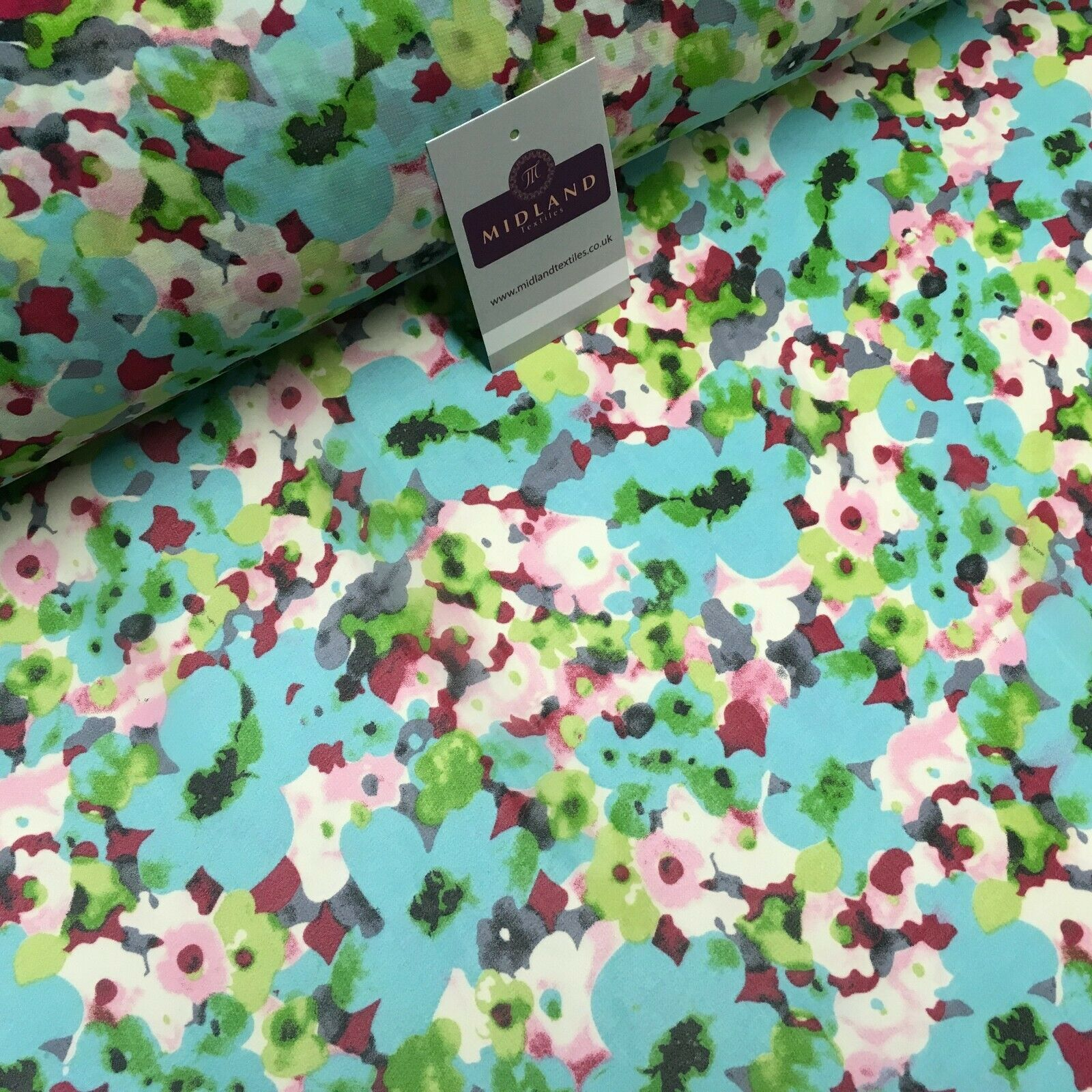 Aqua Green Floral Printed Crepe chiffon Dress Fabric 150 cm MK1190-30 Mtex