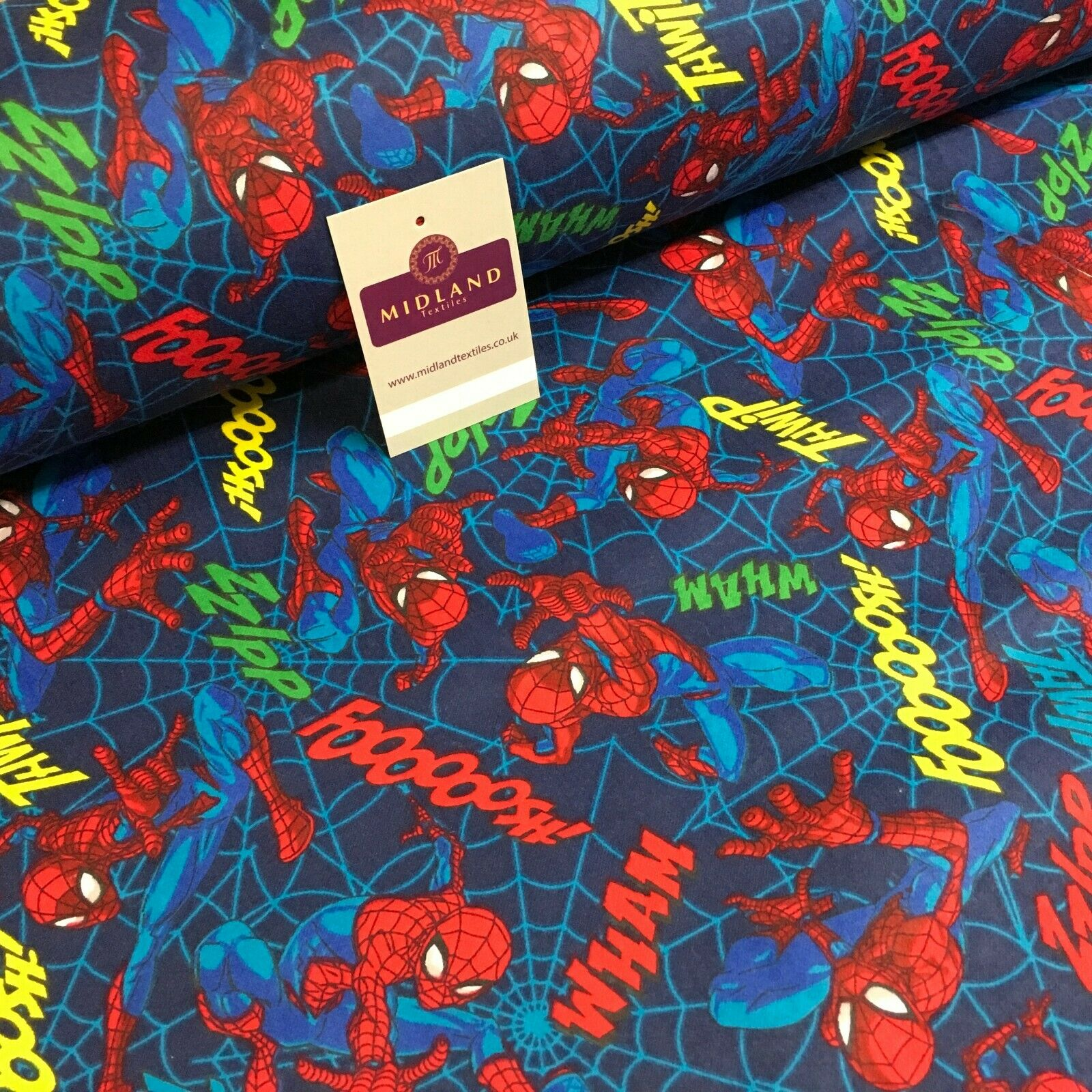 Blue Spider man Cotton Winceyette Soft Brushed Flannel Fabric 110cm MK1229-5