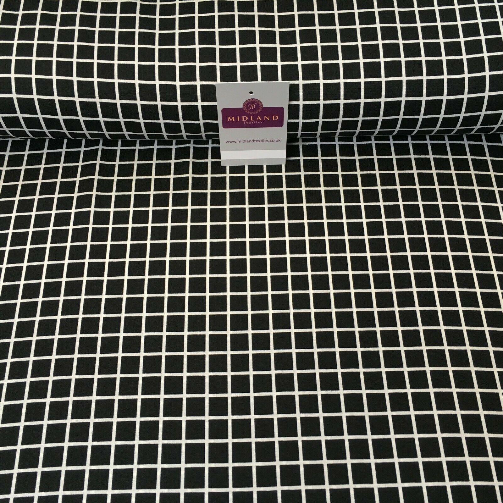 Black & White Check Linen Effect Georgette Crepe Dress Fabric 147cm MK1184-2