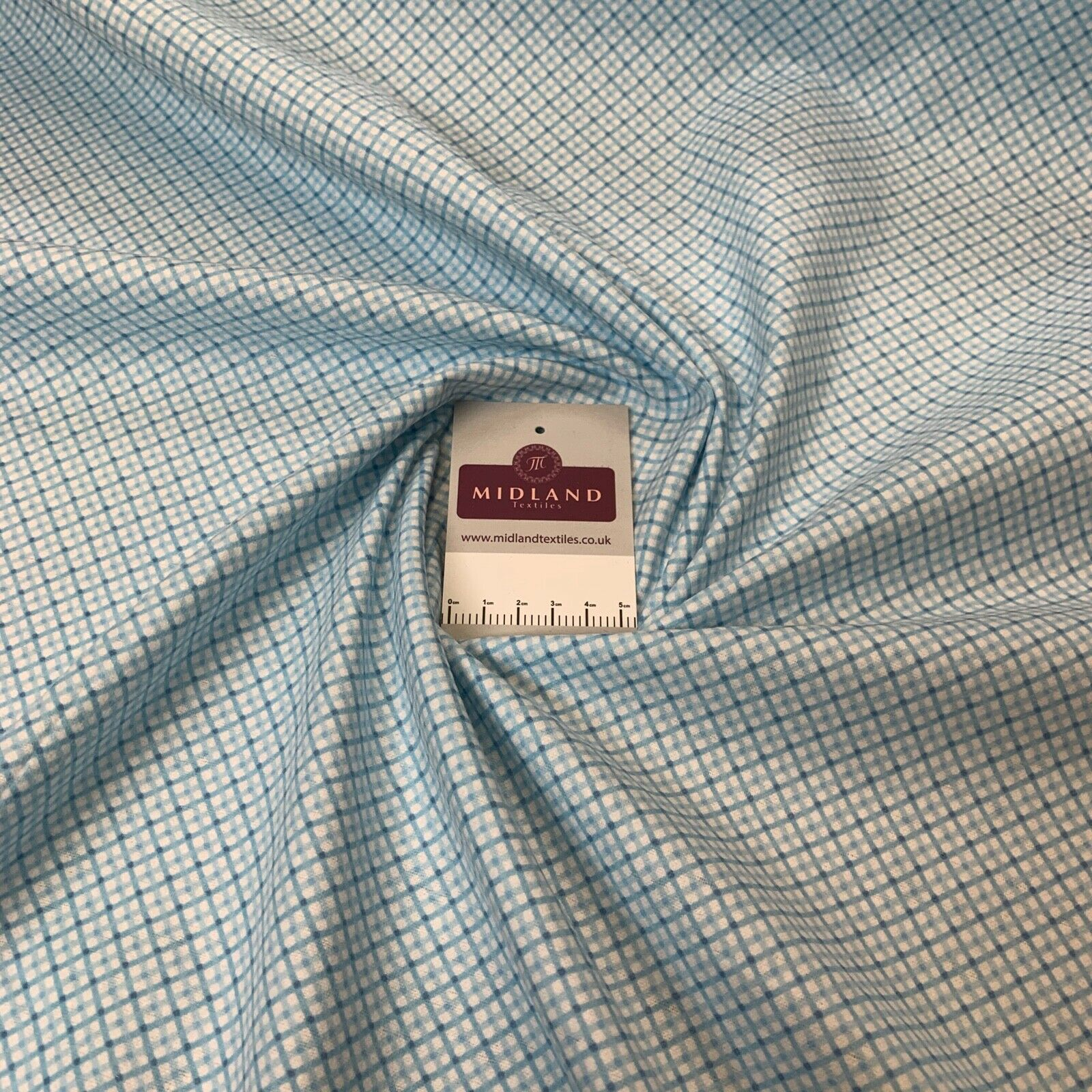 Baby blue diamond check Cotton Wynciette Soft Brushed Fabric 100cm Wide M1227-13