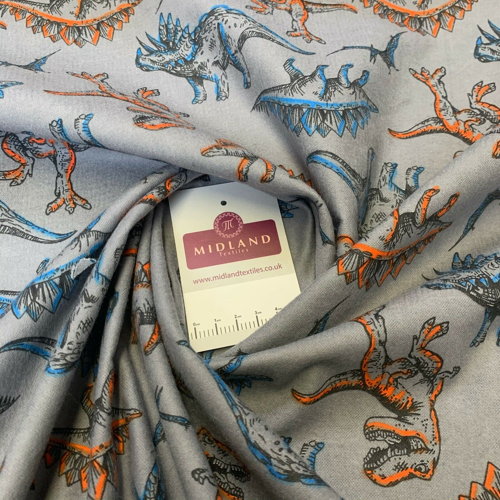 Grey Dinosaur Cotton Wynciette Soft Brushed Fabric 110 cm Wide MK1227-12