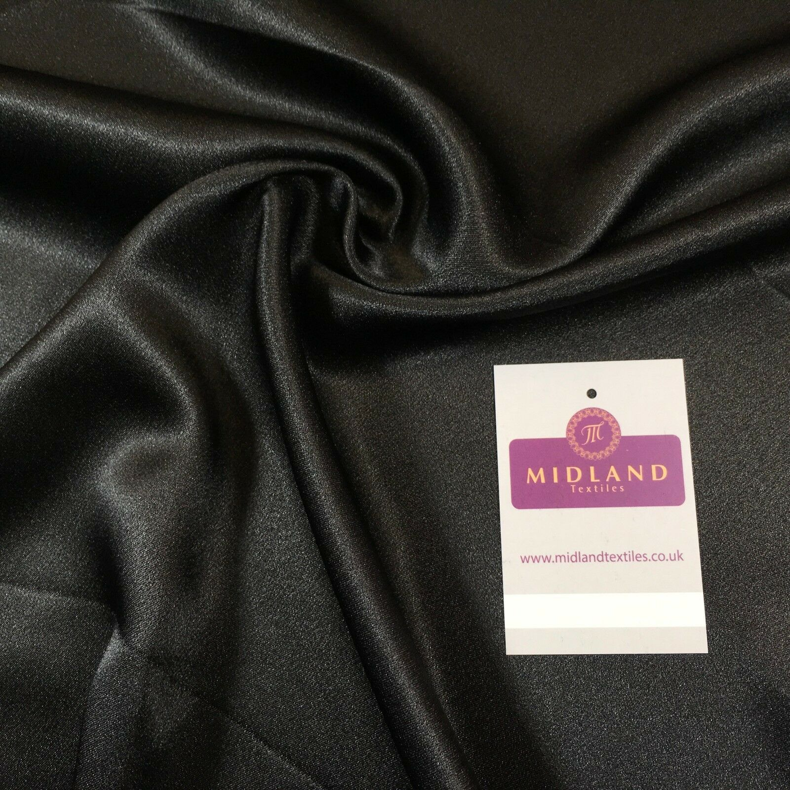 "Black Plain Silky Smooth Crepe Back Satin Dress Fabric  58"" Wide Mtex MJ830"