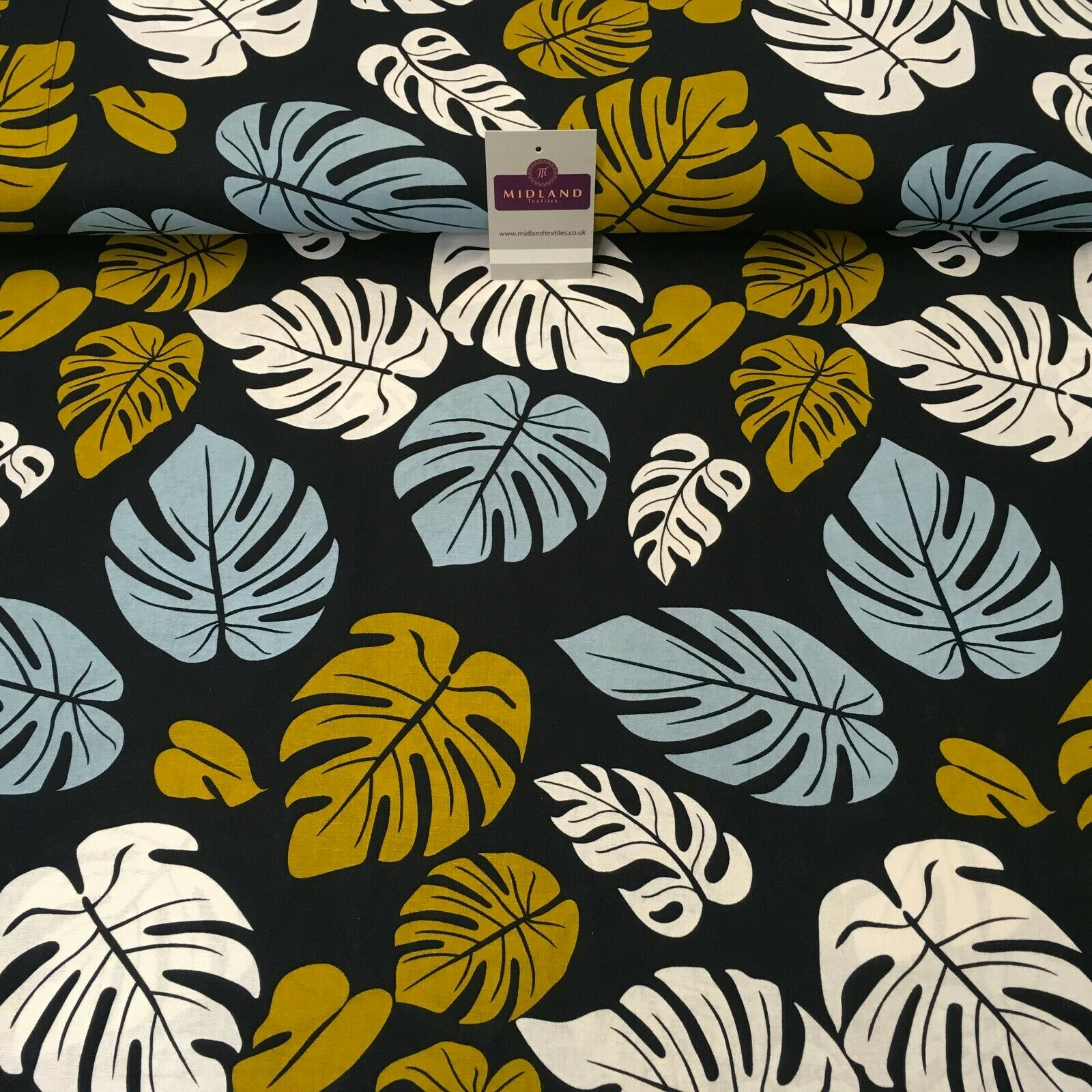 Blue Mustard Leaf Printed Cotton Linen Dress Fabric 150cm Wide MK1086-17