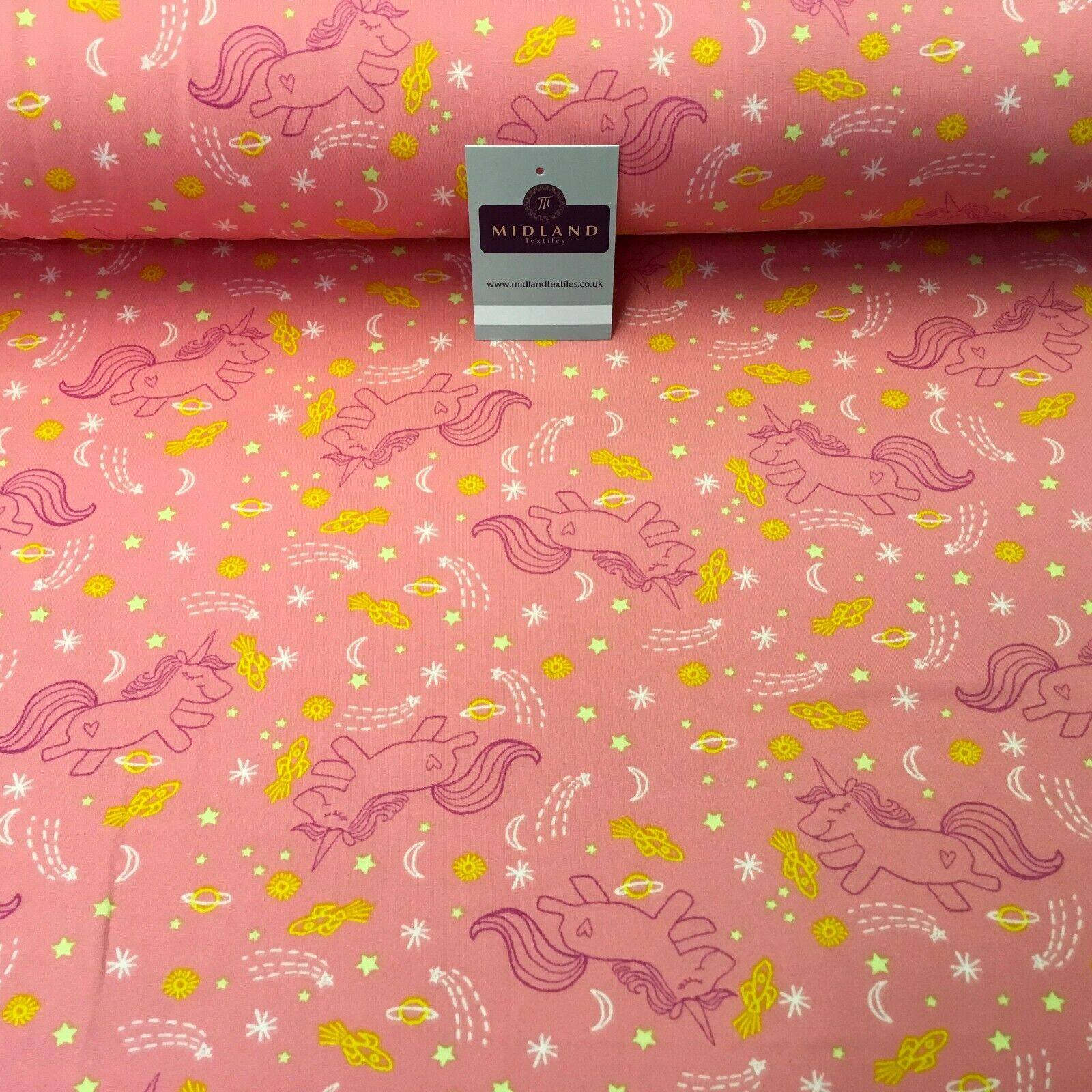 Coral Pink Unicorns Printed Brushed Jersey Dress fabric 150cm Wide MK1106-5 Mtex