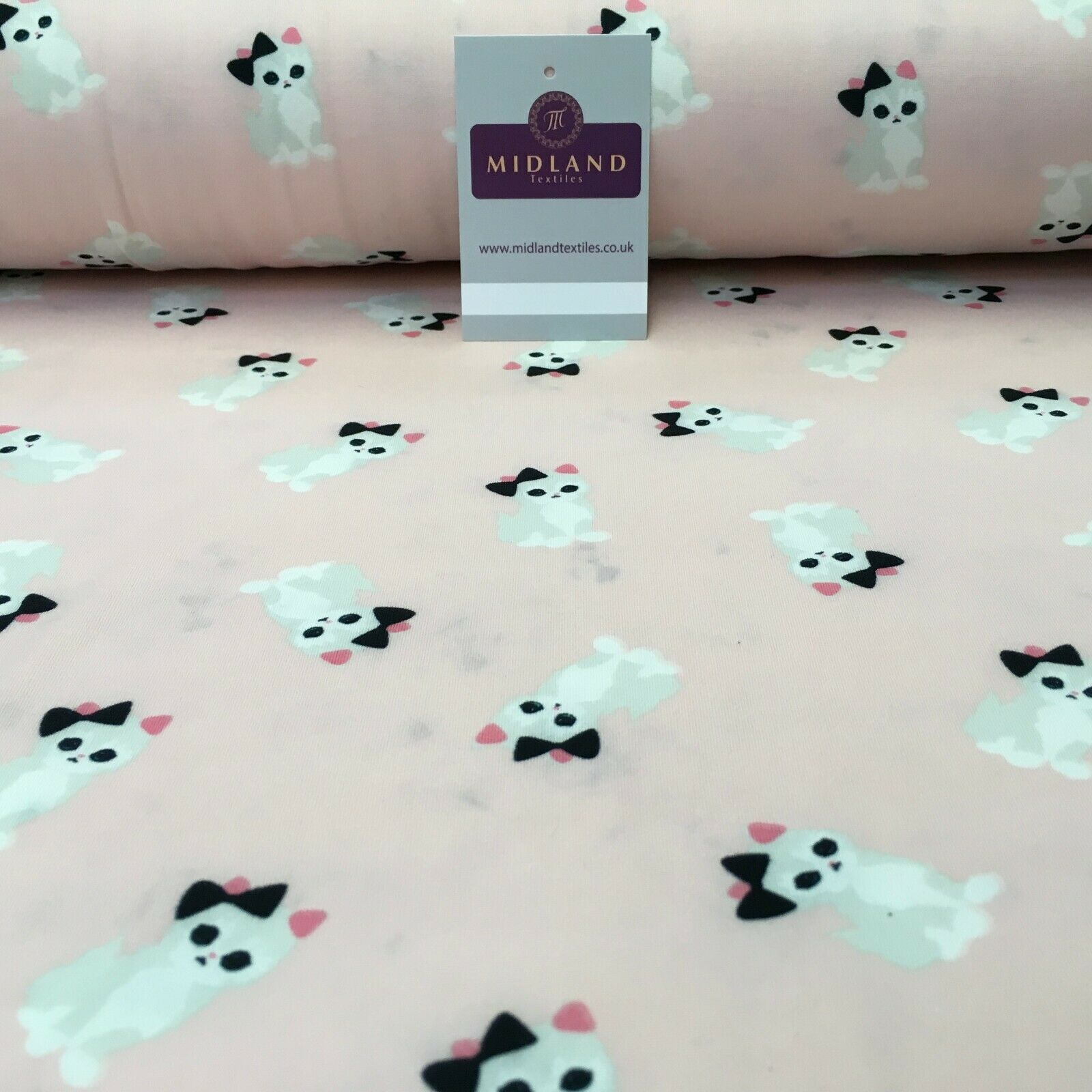 Baby Pink Kitten Printed Brushed Jersey Dress fabric 150cm Wide MK1106-1 Mtex