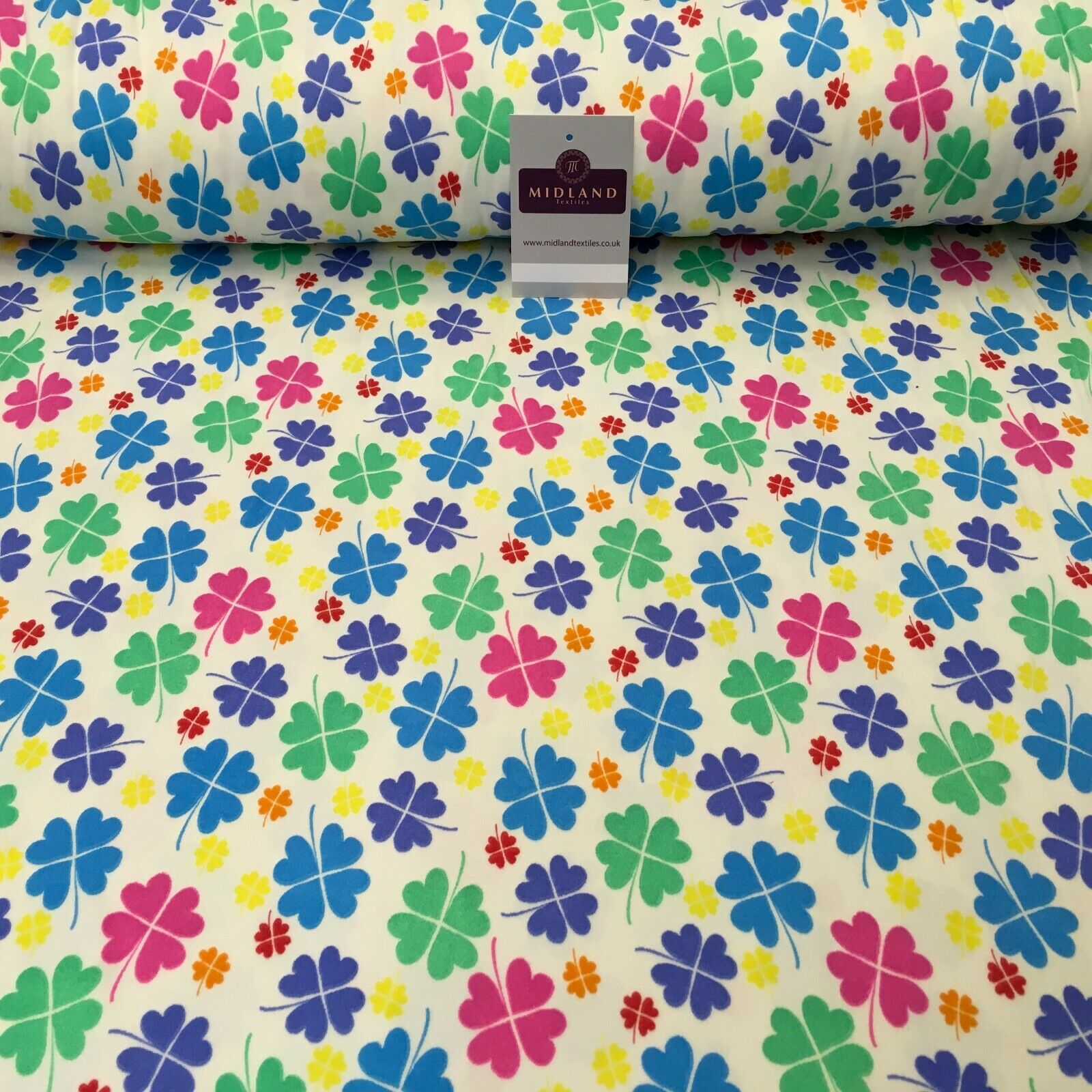 Cream Clover Leaf Printed Brushed Jersey Dress fabric 150cm Wide MK1106-3 Mtex