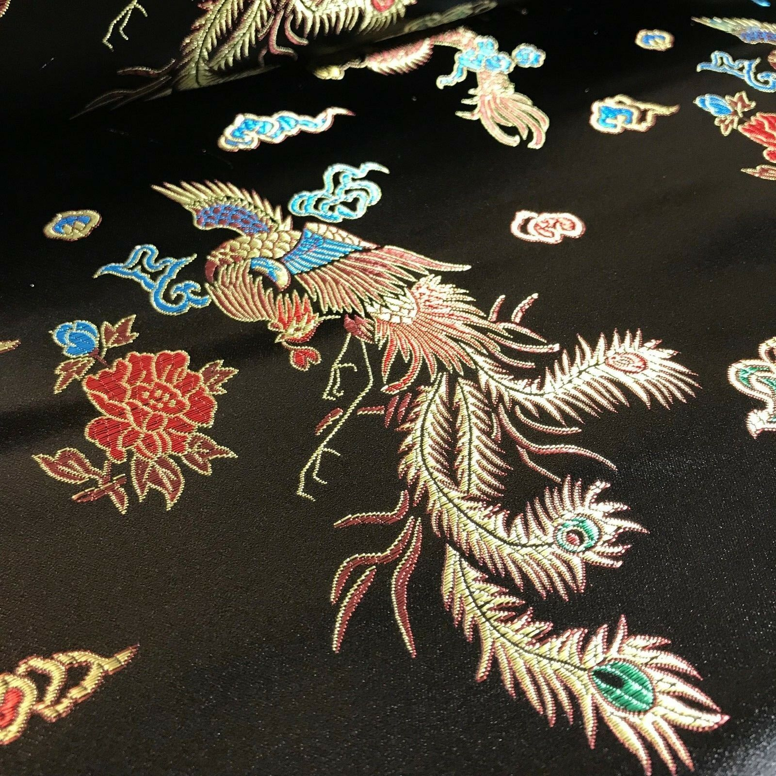 "Chinese oriental Dragon silky satin brocade dress fabric 45"" wide M797"