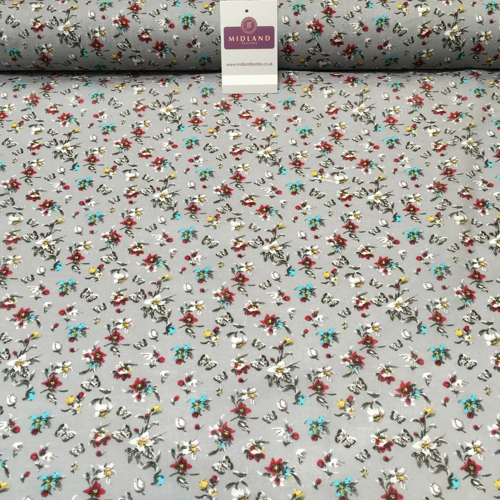 "Floral Butterfly Printed Cotton Lawn Dress Fabric 58"" Wide MH954 Mtex"