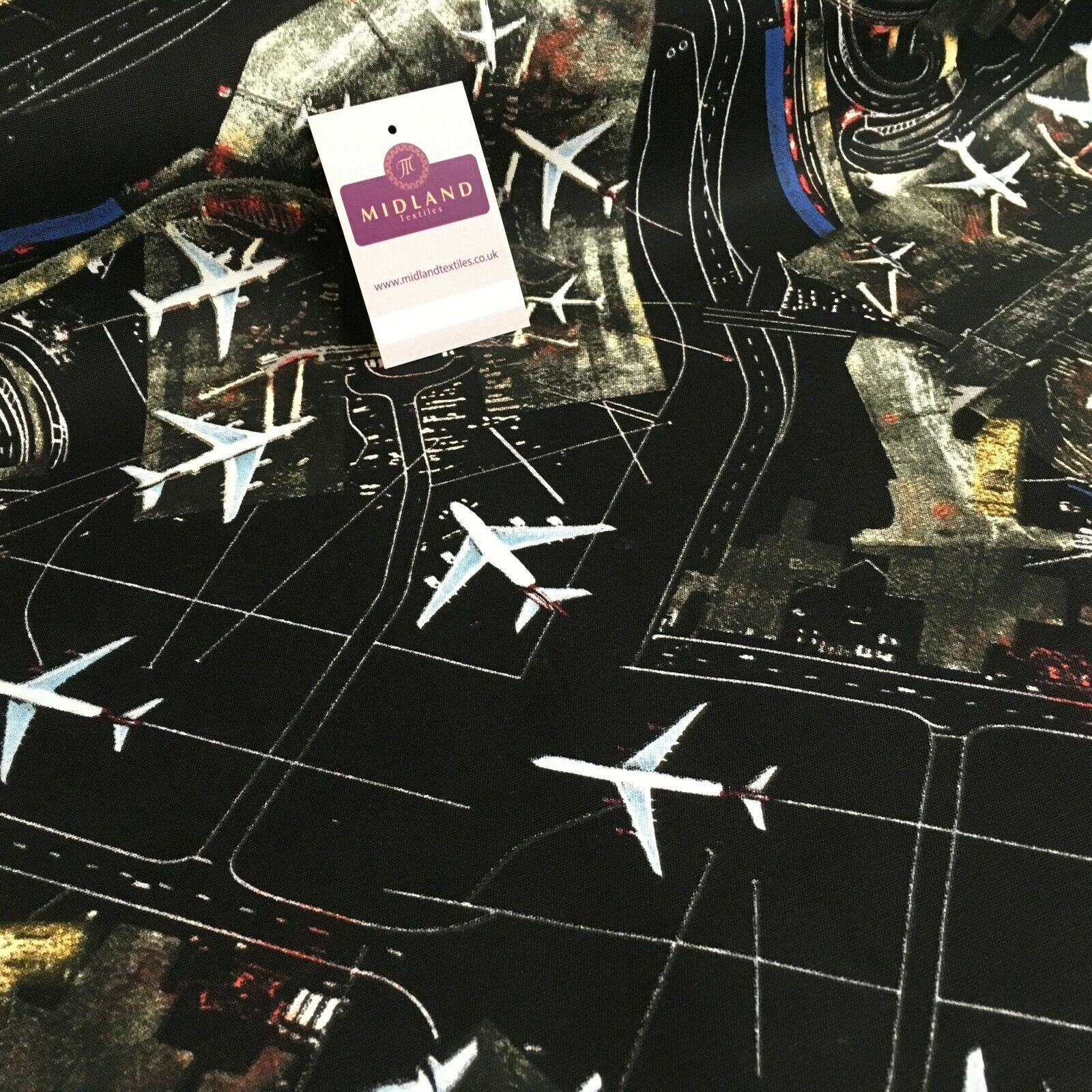Black Airport Landing Aeroplanes 100% Cotton Canvas Fabric 150 cm Wide MK856-17