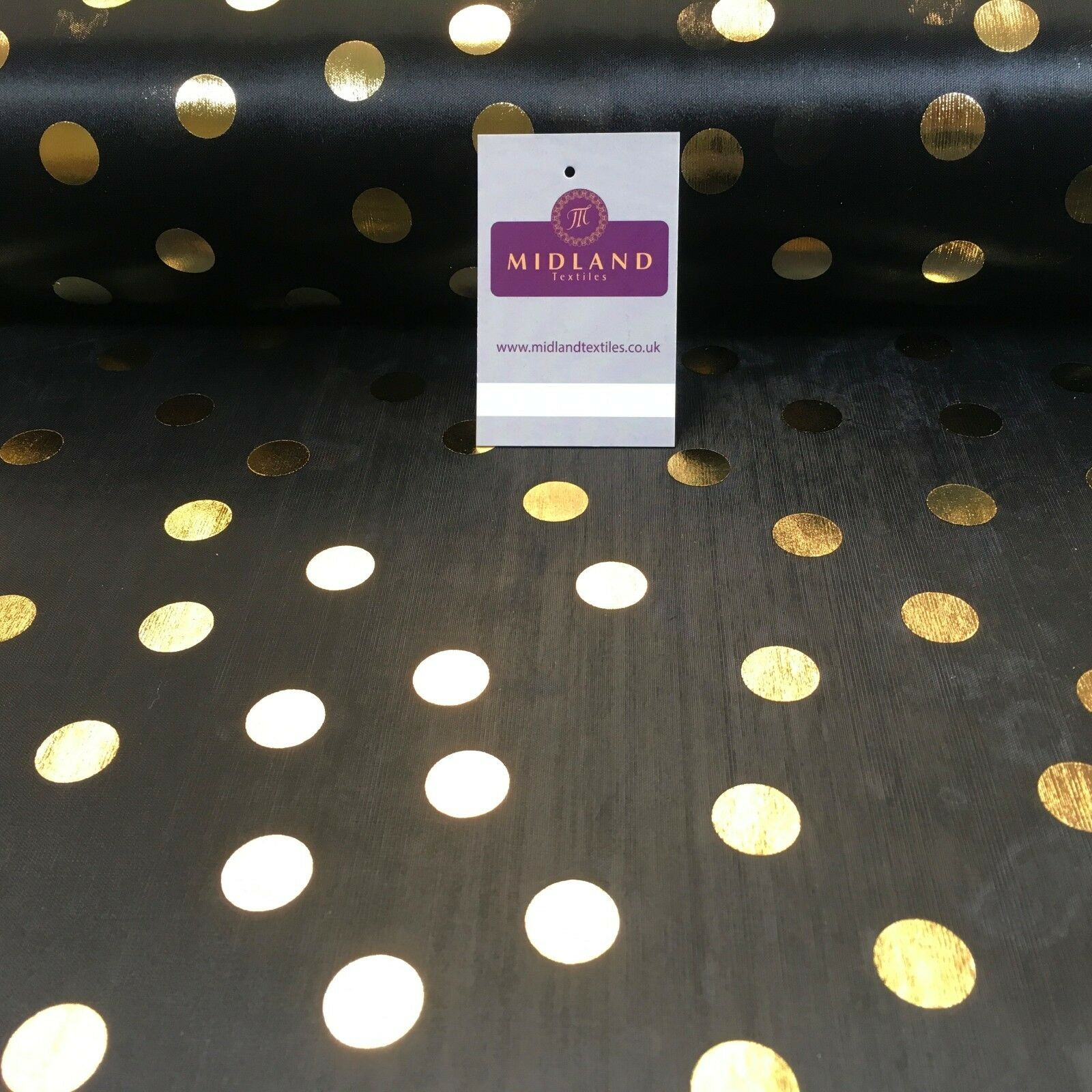 "Black with gold Spots hologram printed computer foil fabric 45"" M7-9 Mtex"