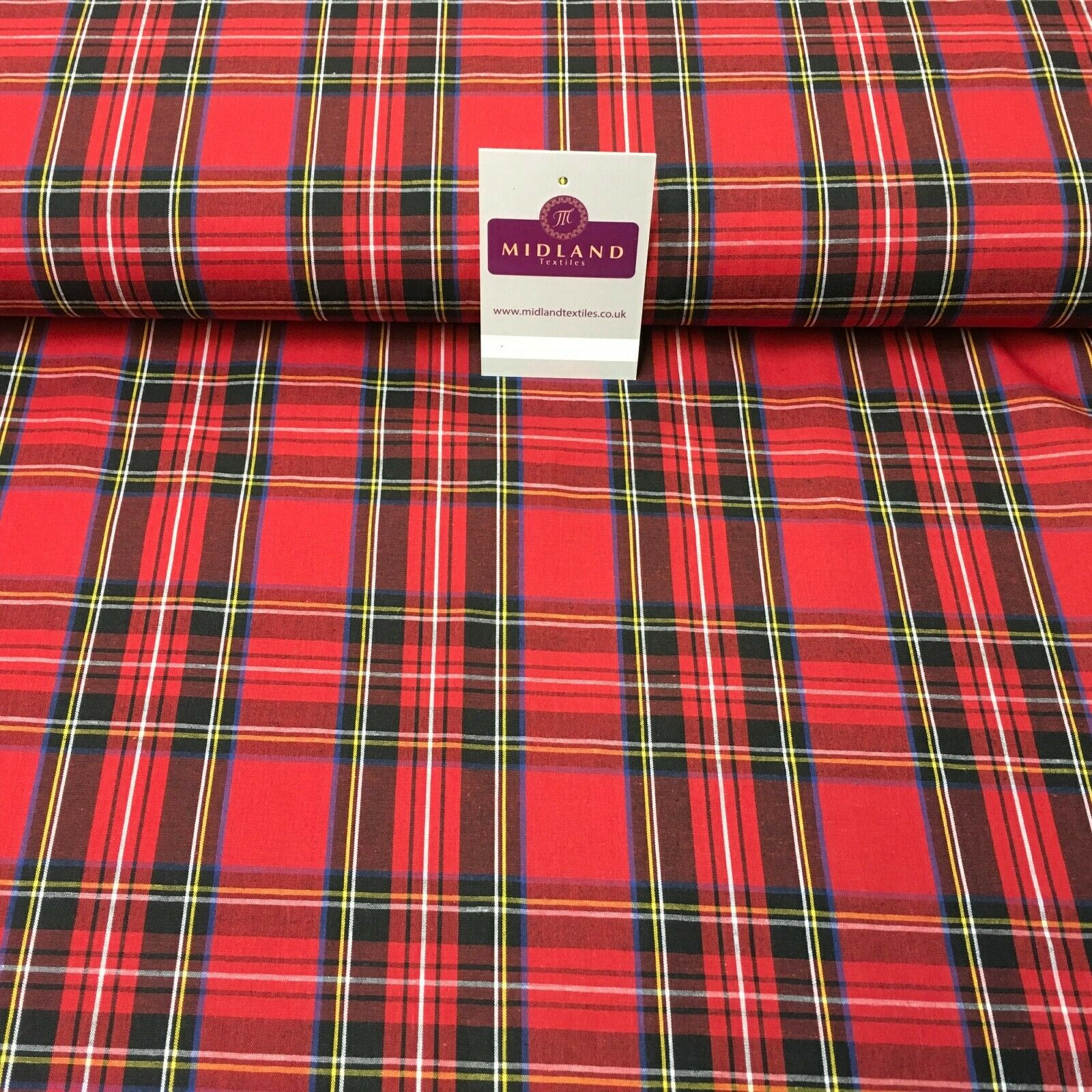 Flat Tartan Woven 100% Cotton Poplin ideal for clothing Fabric 147cm Wide MD1053