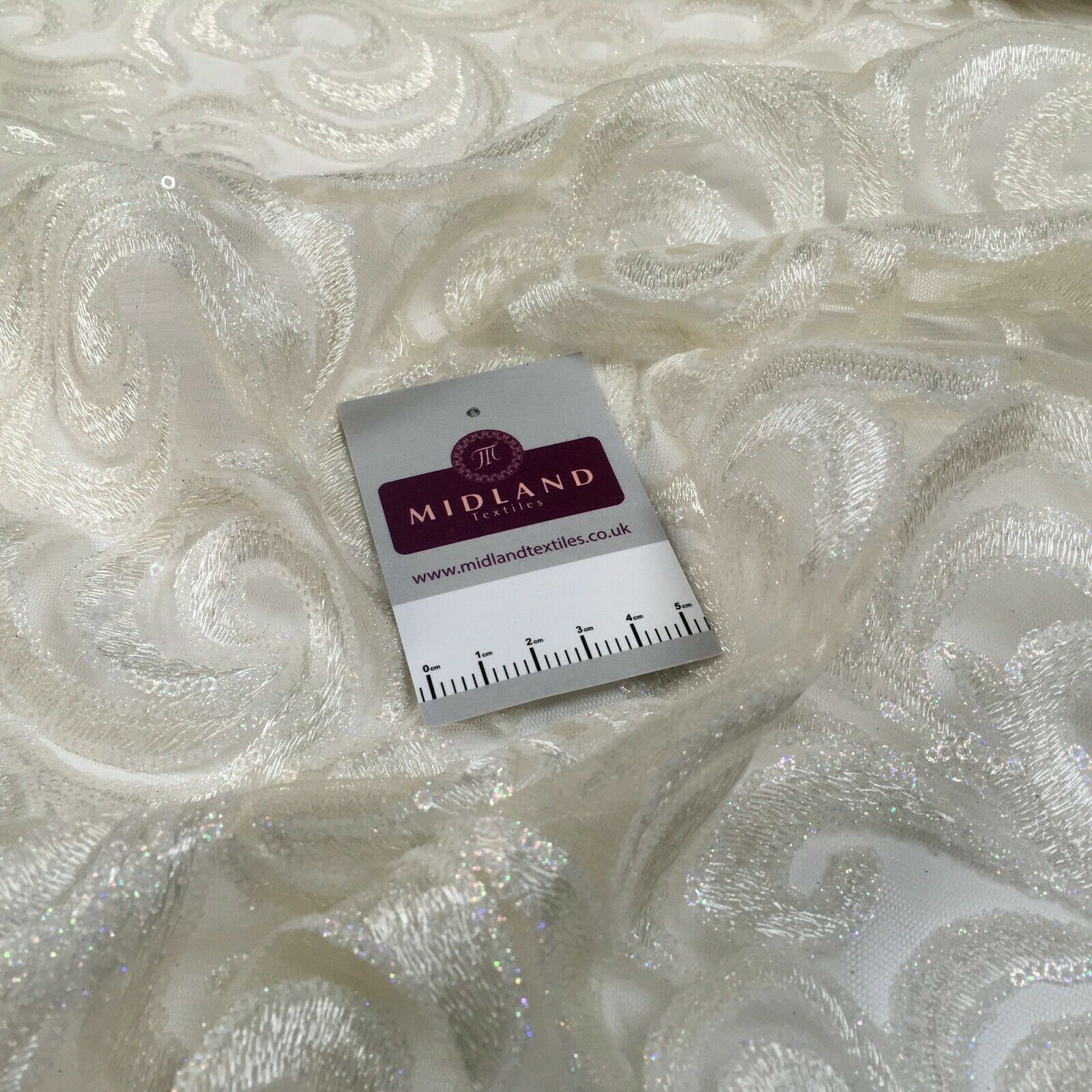 Cream Swirl Wedding Tulle Net Dress Fabric 127cm MK1379 Mtex