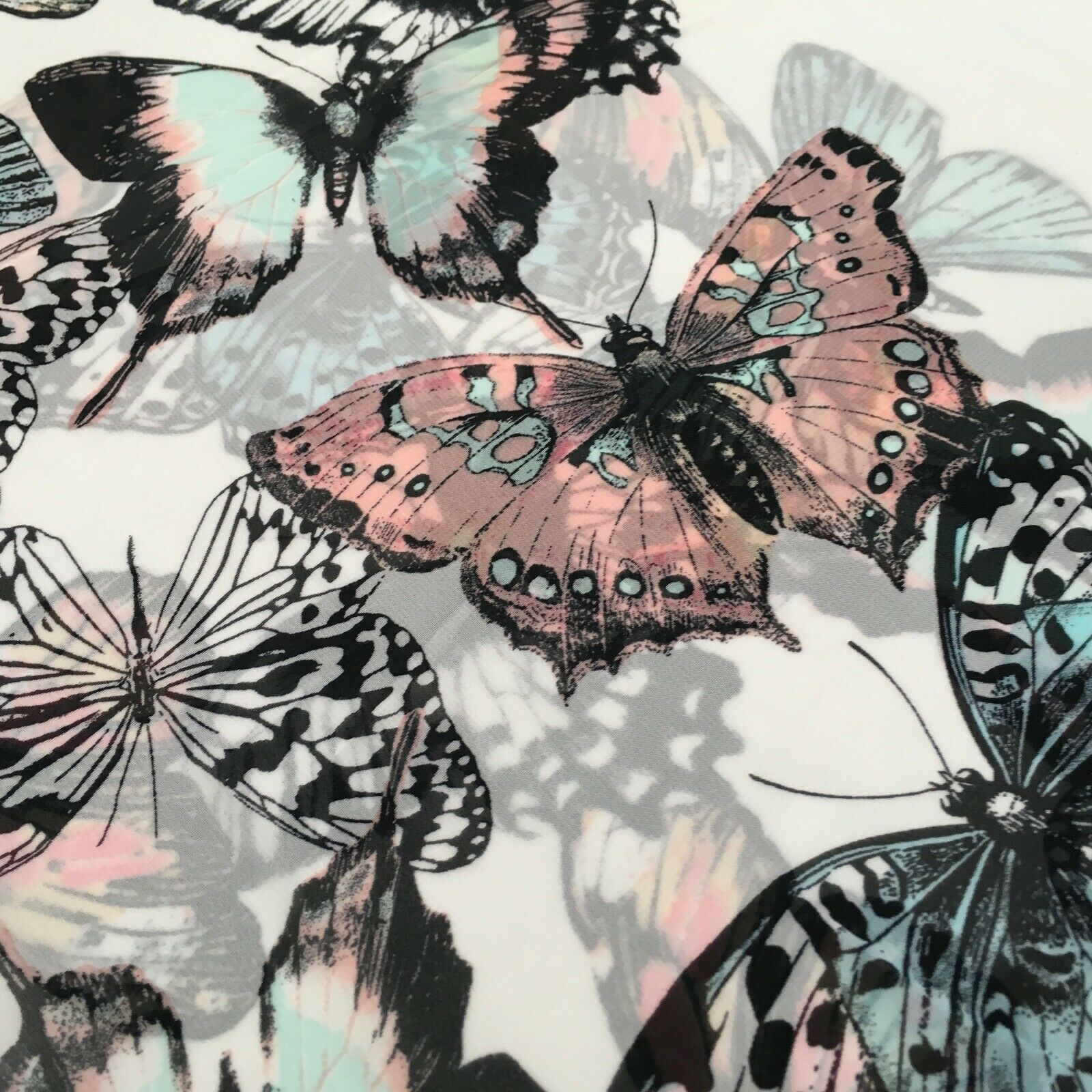 Green, Peach and Ivory Butterfly Printed Chiffon Fabric 150cm MK1084-6