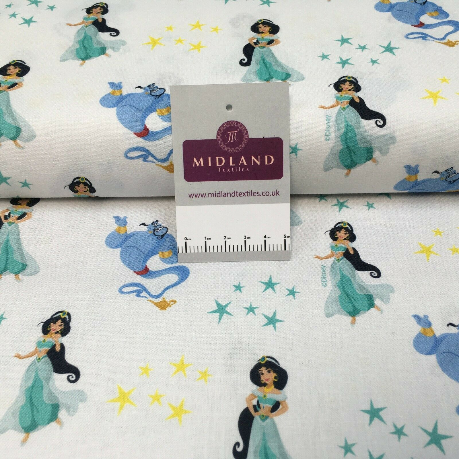 White Licensed Digital Printed Aladdin 100% Cotton Fabric MH1452 Mtex