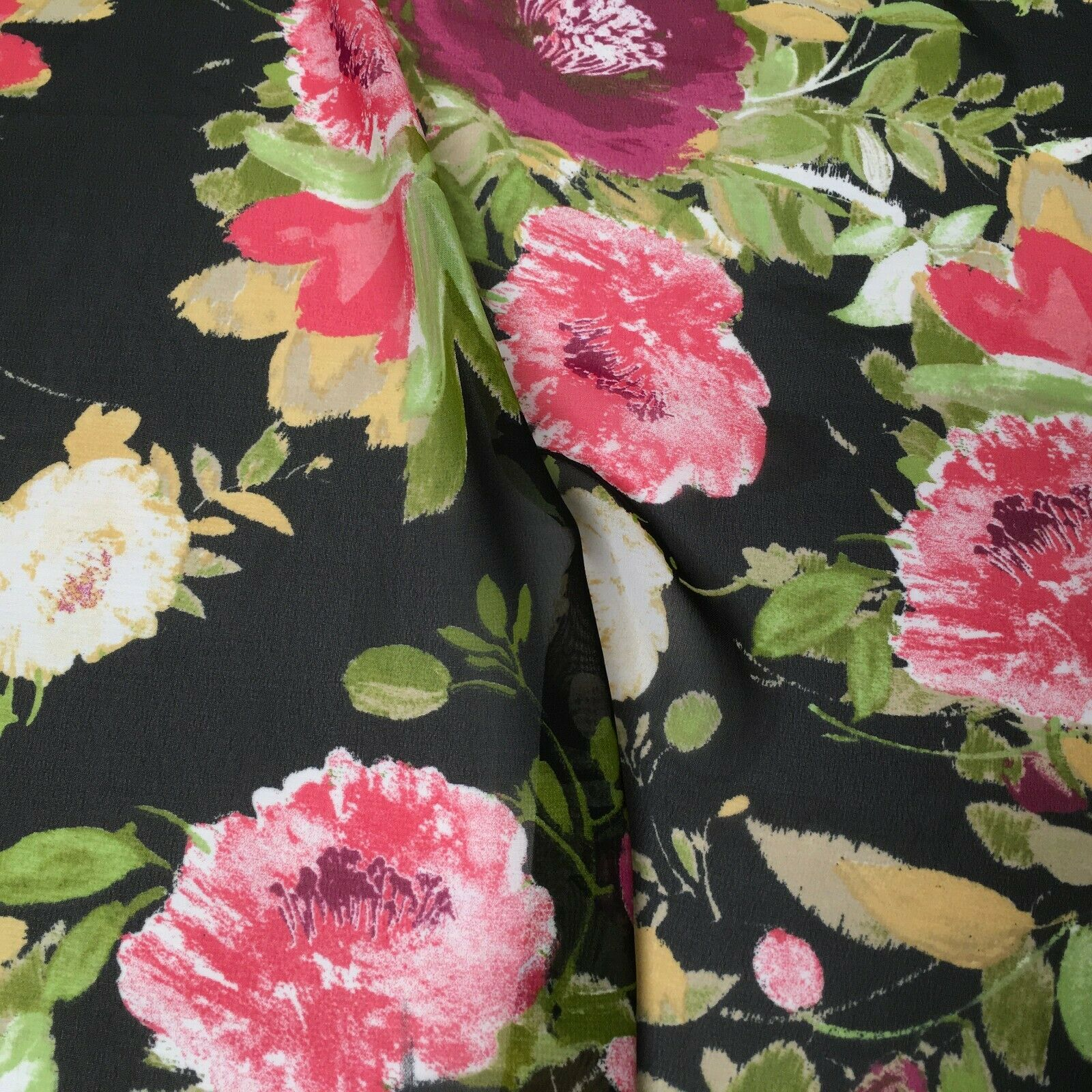 Black floral printed Crepe chiffon Dress Fabric MK1190-37 Mtex