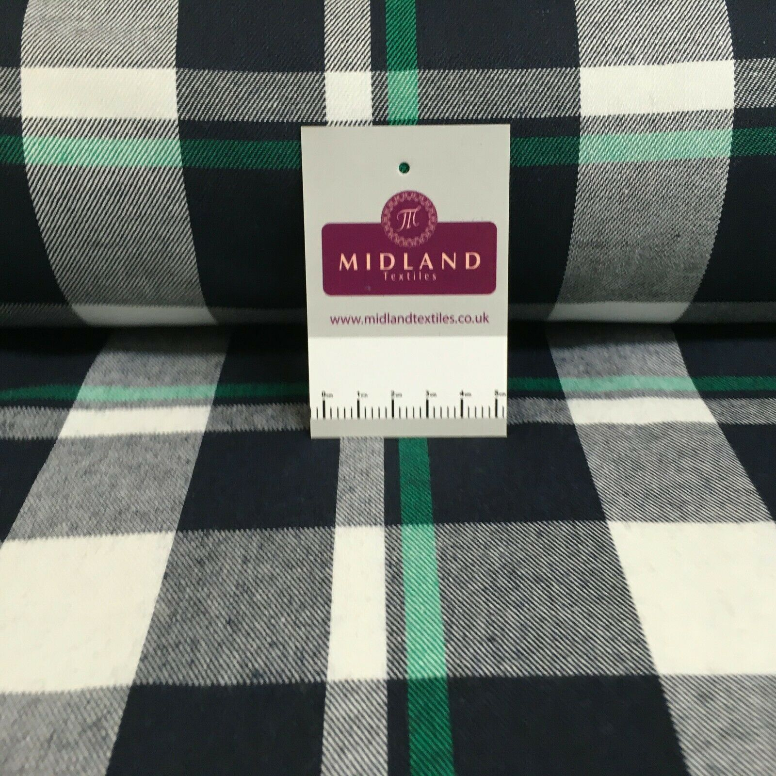 Green Navy cotton twill tartan check dress Fabric M1437