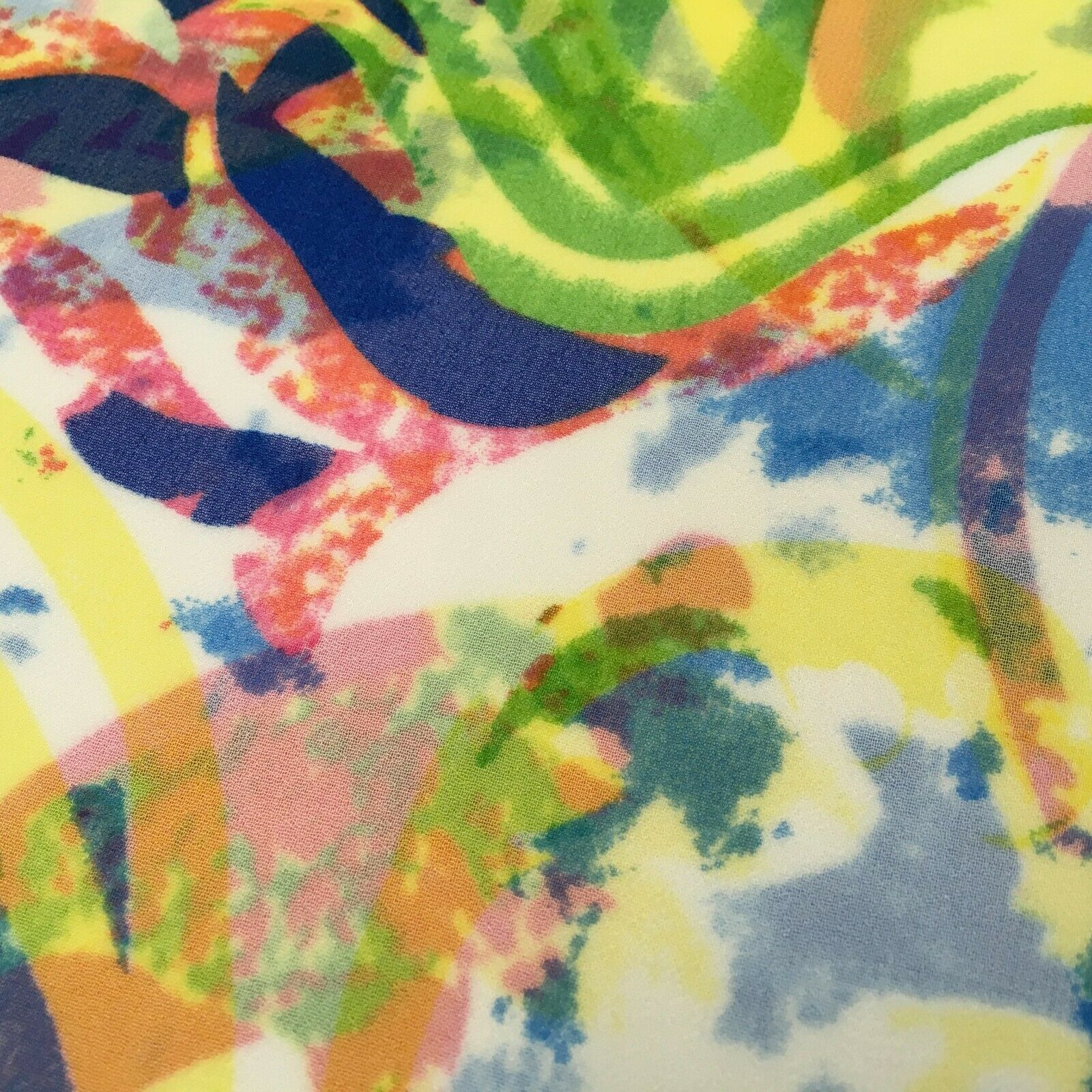 Green Yellow ivory Abstract Printed High Street Chiffon Fabric 150 cm MK1084-14