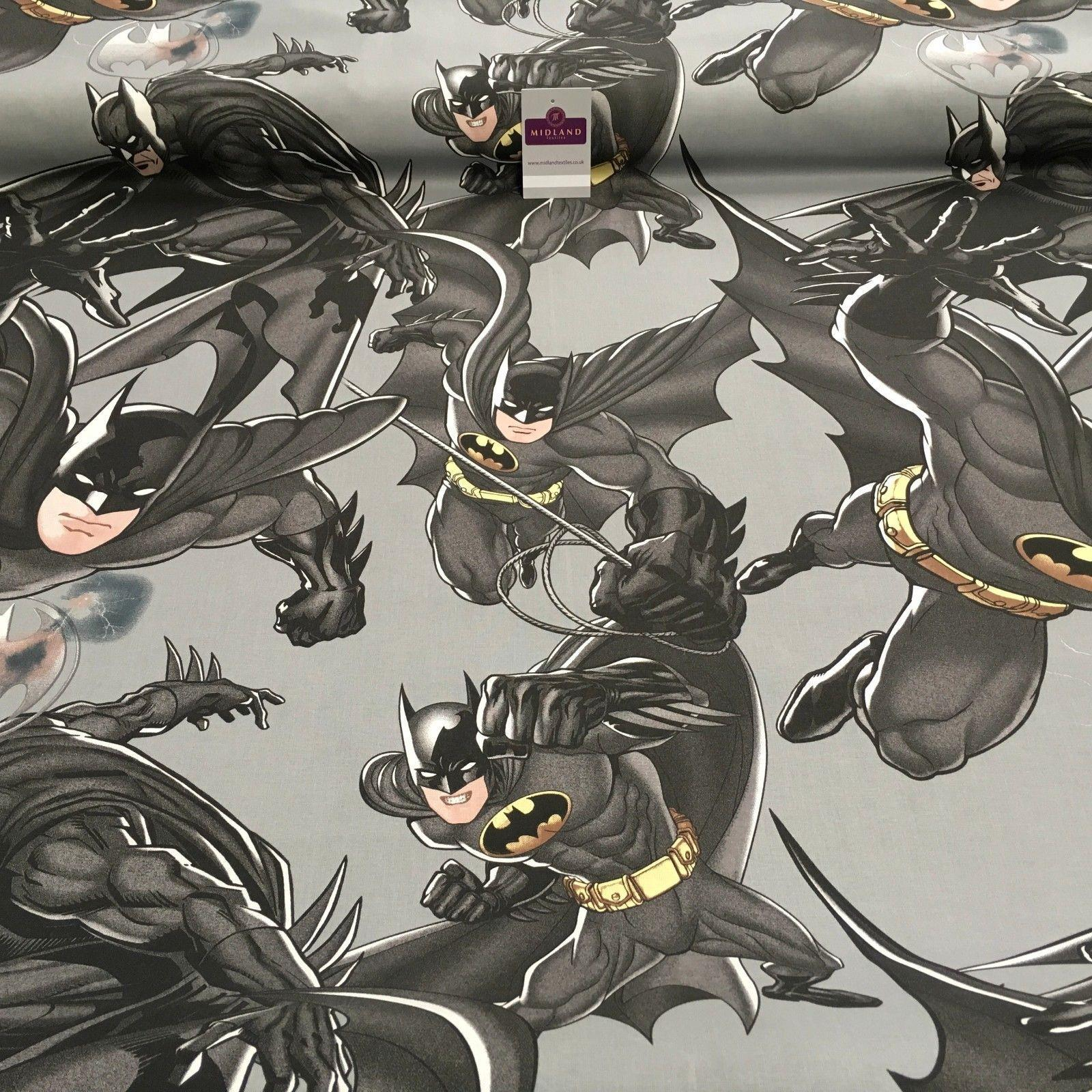 "Grey 100% Cotton DC Marvels Comic Batman Dark knight Craft fabric 58"" MH869-5"
