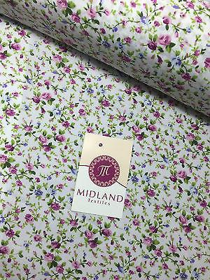 "Floral Ditsy vintage poly cotton print dress craft fabric 44"" Wide M334 Mtex"
