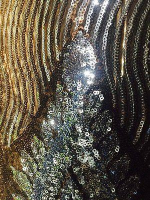 Black Net fabric with Metallic sequins border embroidery dress fabric Mtex M193