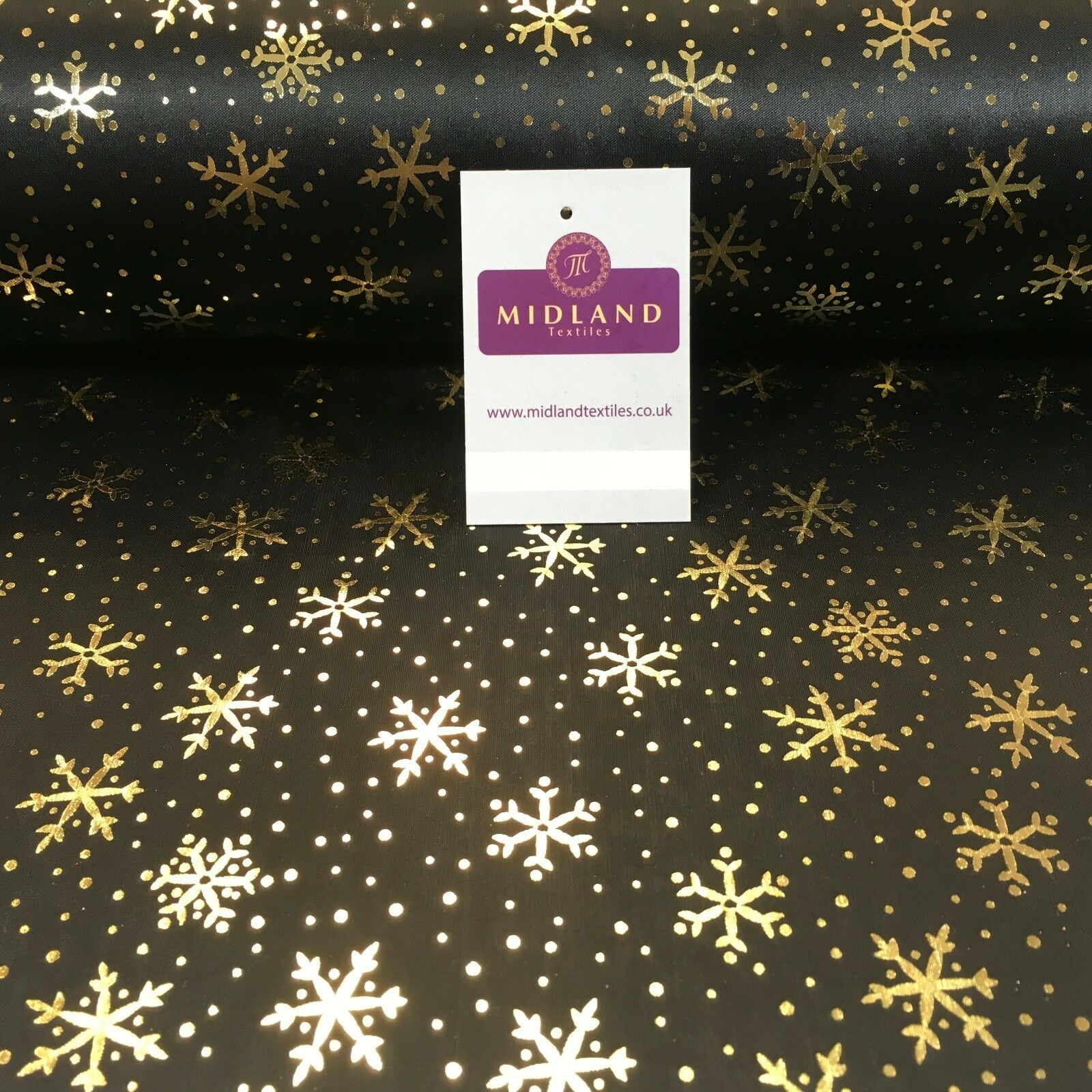 "Black with gold Gold Snowflake Hologram Printed Computer foil fabric 45"" M7-12"