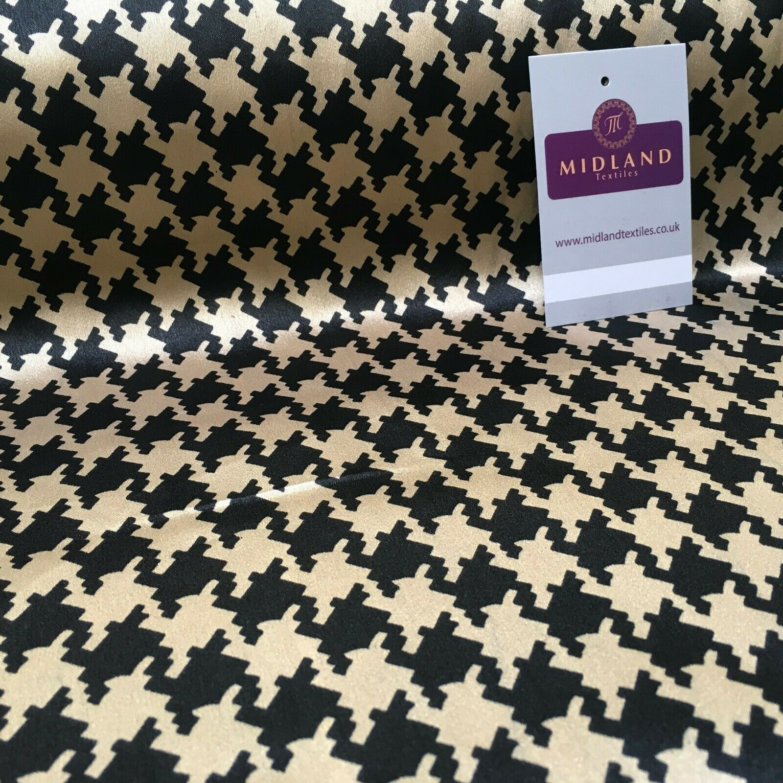 Black and Gold Dogtooth Printed Silky Satin Dress Fabric 150cm Wide MR1044-1