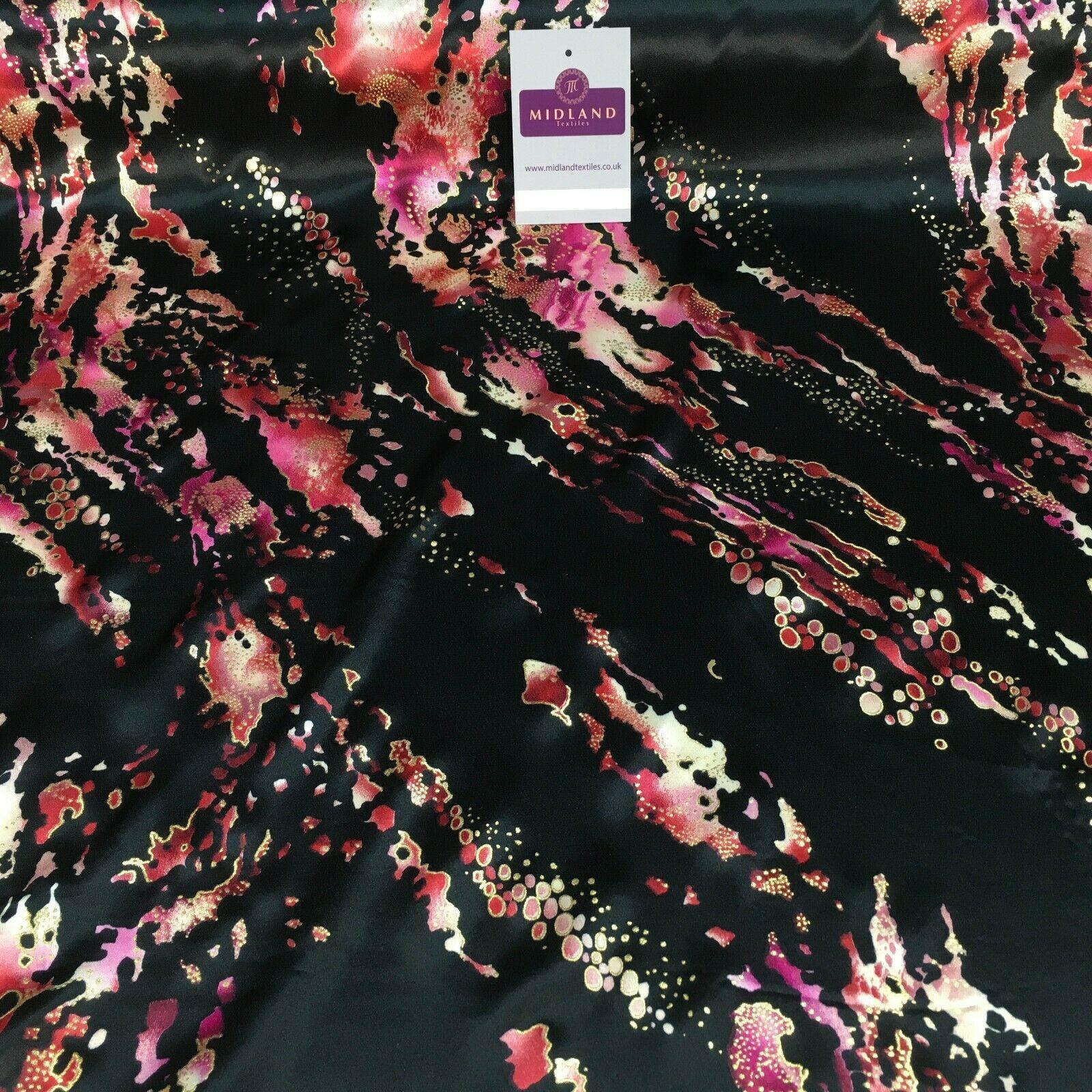 Abstract Gold foil Printed Satin Chiffon Dress Fabric 111cm MA1187 Mtex