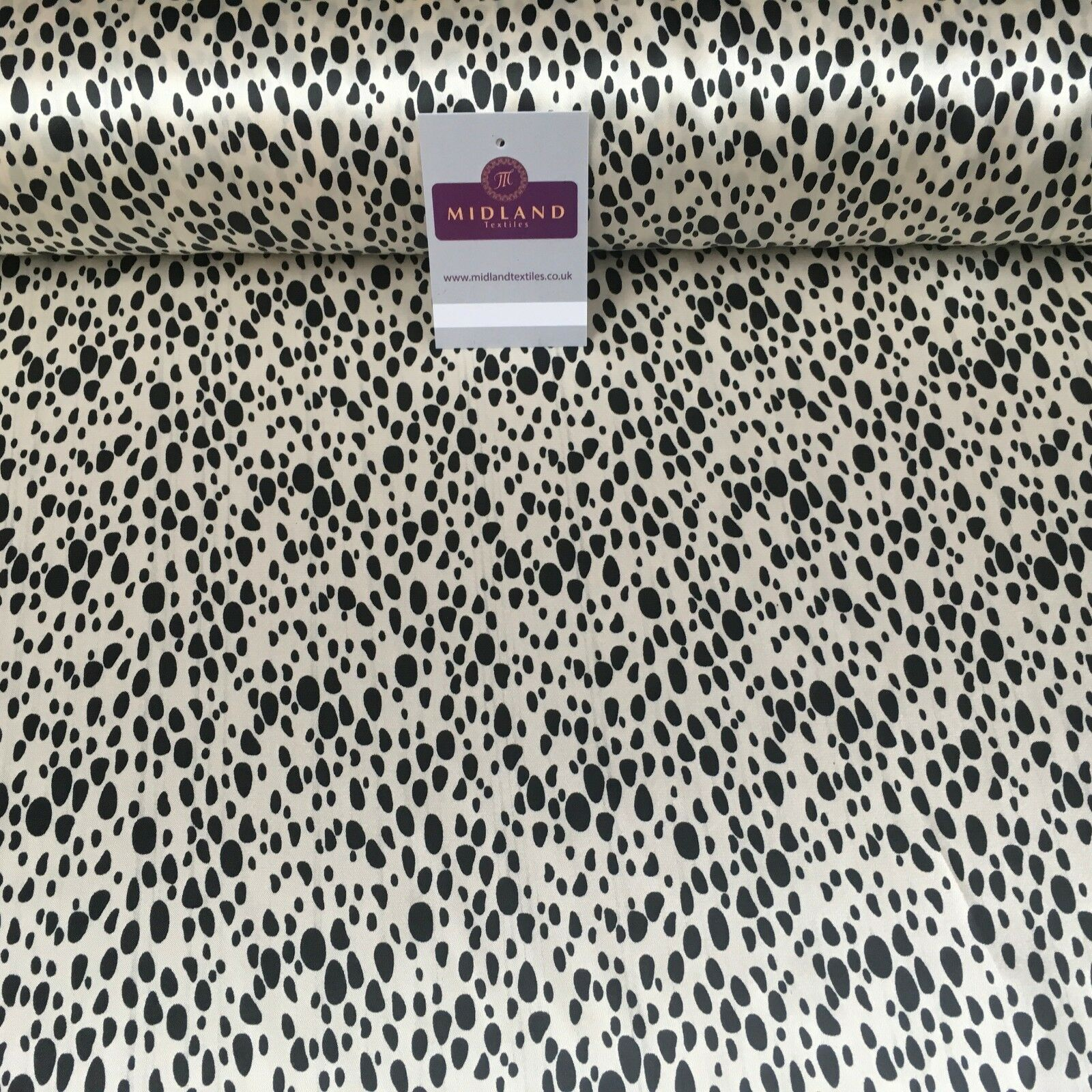 "Cream and Black Animal Printed silky smooth Dress Fabric 58"" Wide M145-20 Mtex"