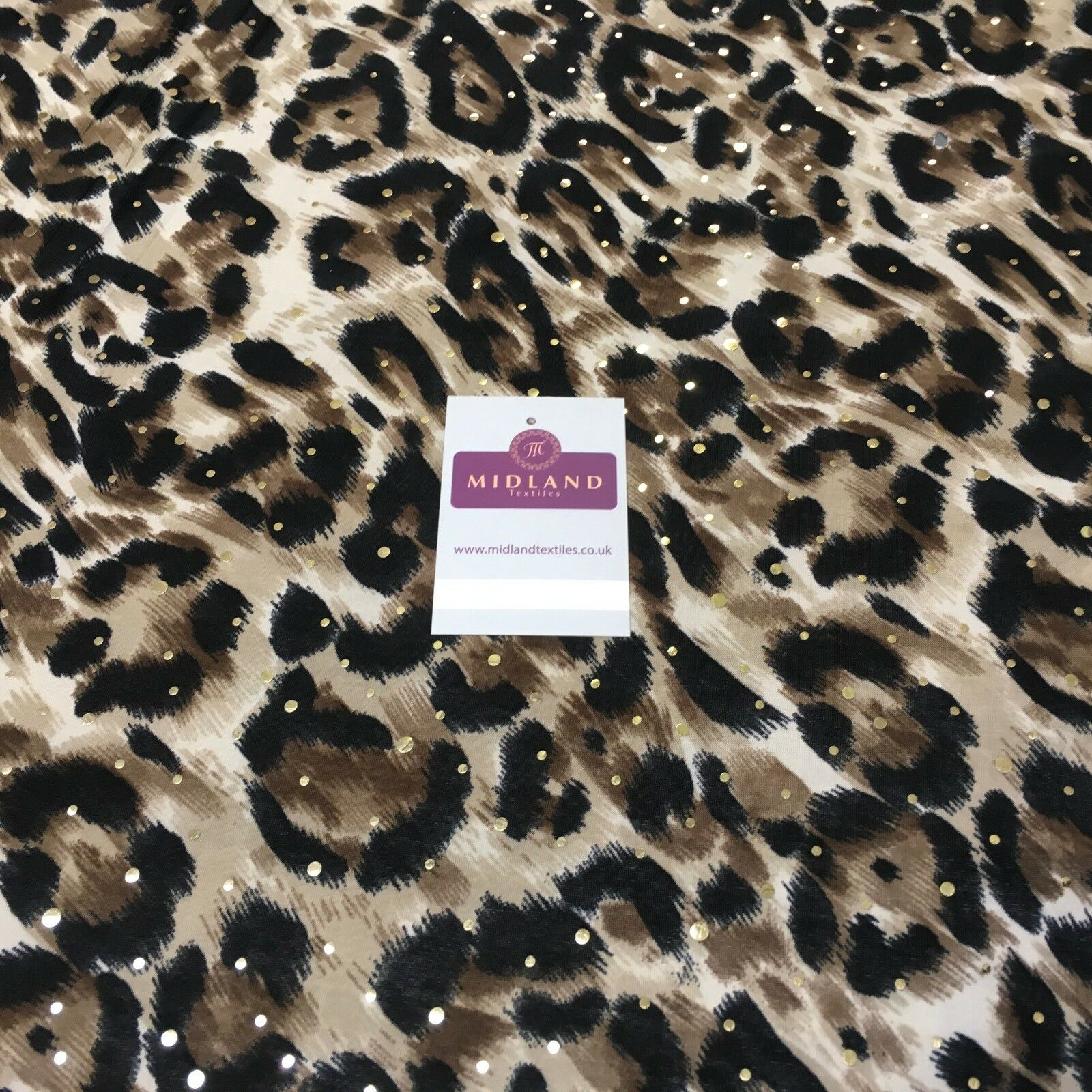 "Animal Print Gold Sequins Stretch Jersey Dress fabric 58"" Wide MV1031 Mtex"