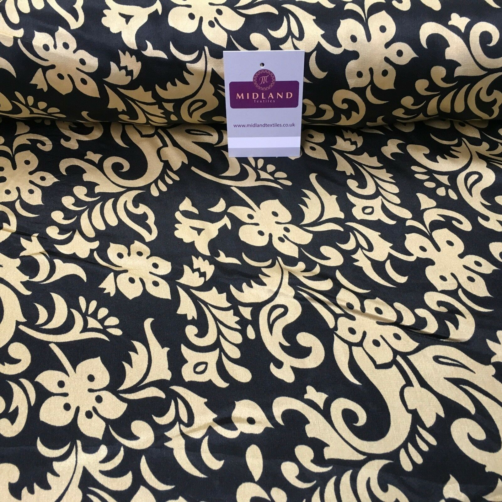 "Black & Gold Floral Printed Satin Silky Dress fabric 55"" Wide MA1026 Mtex"