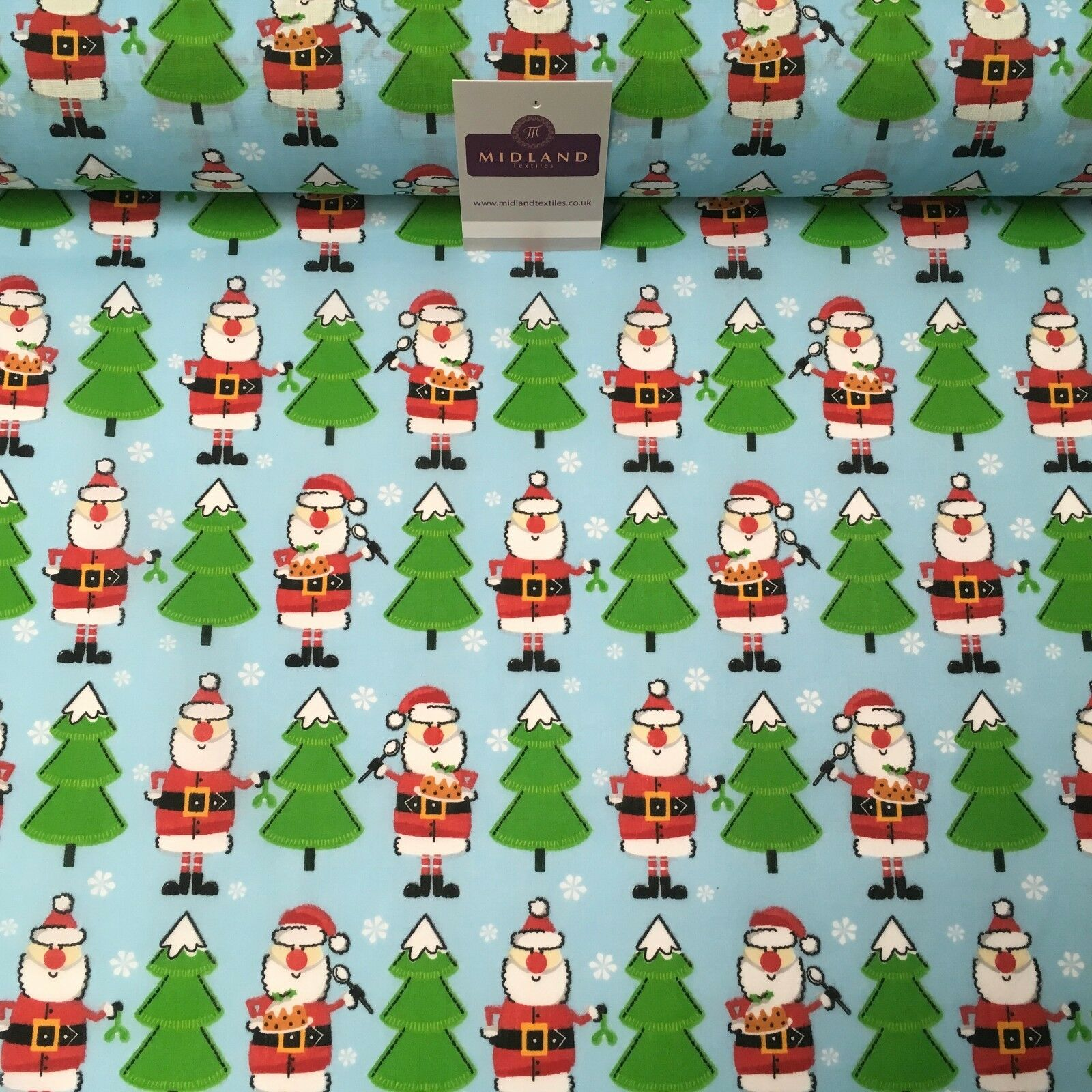 "Blue Santa & Christmas festive tree printed Polycotton fabric 44"" Wide MD1005"