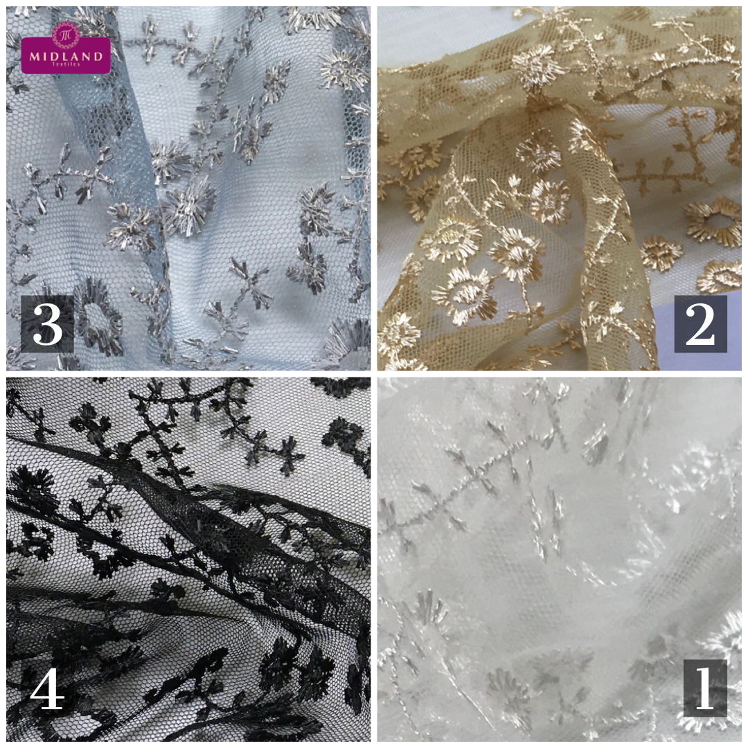 Embroidered Floral Tulle Net wedding dress Fabric MK1428 Mtex