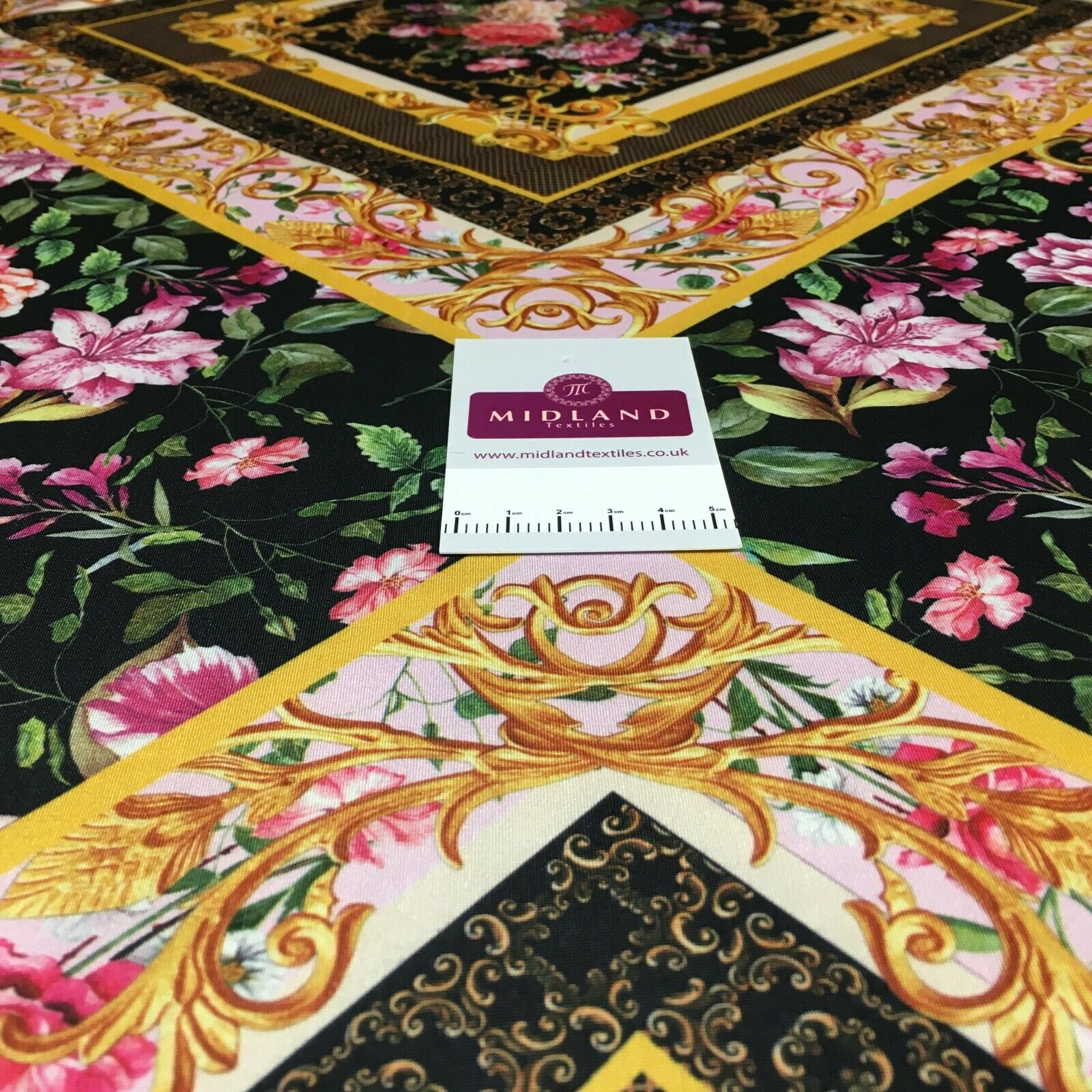 Black Floral ornamental ity soft touch jersey dress Fabric M1525