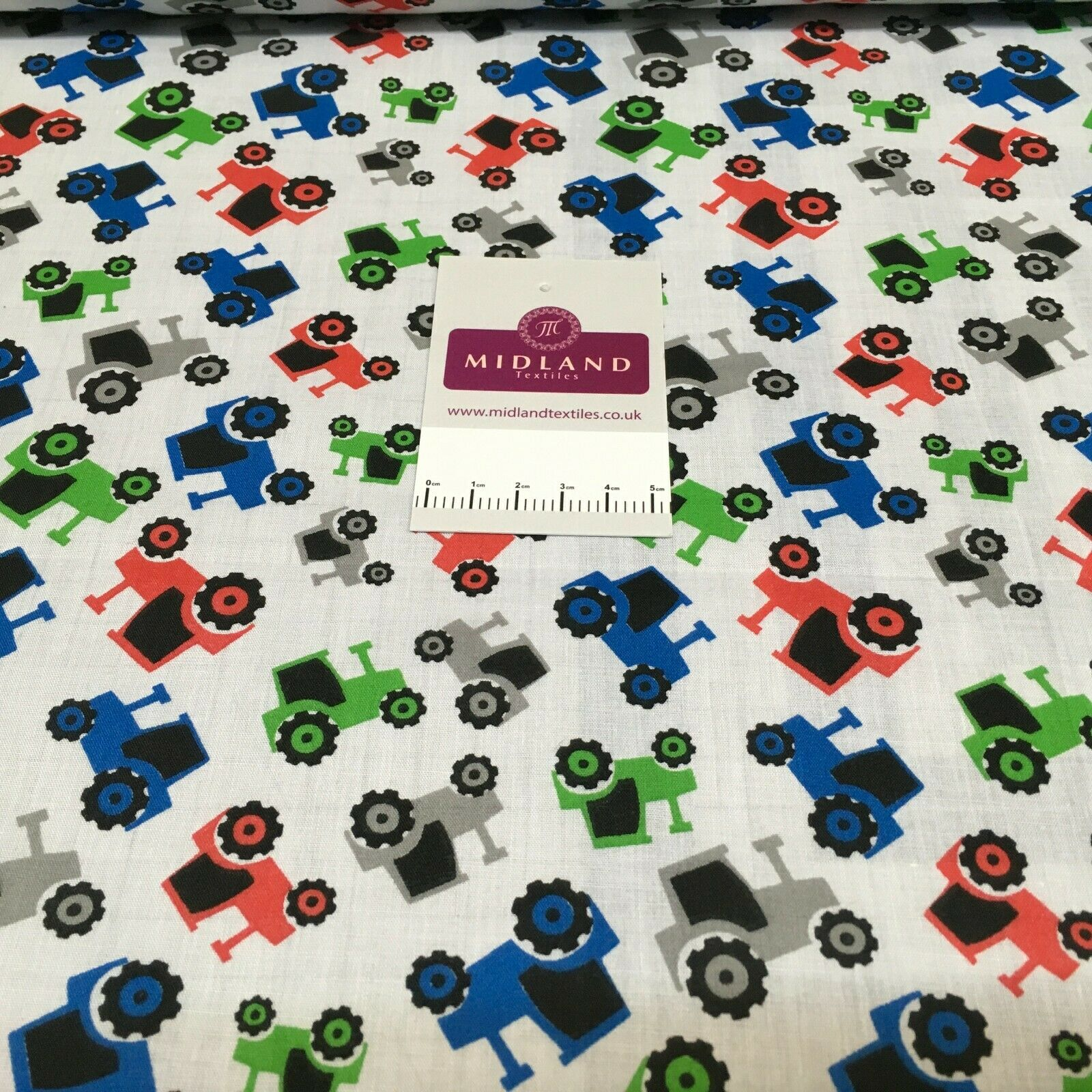 White Toy Tractor Printed Polycotton Fabric 110 cm MD1518