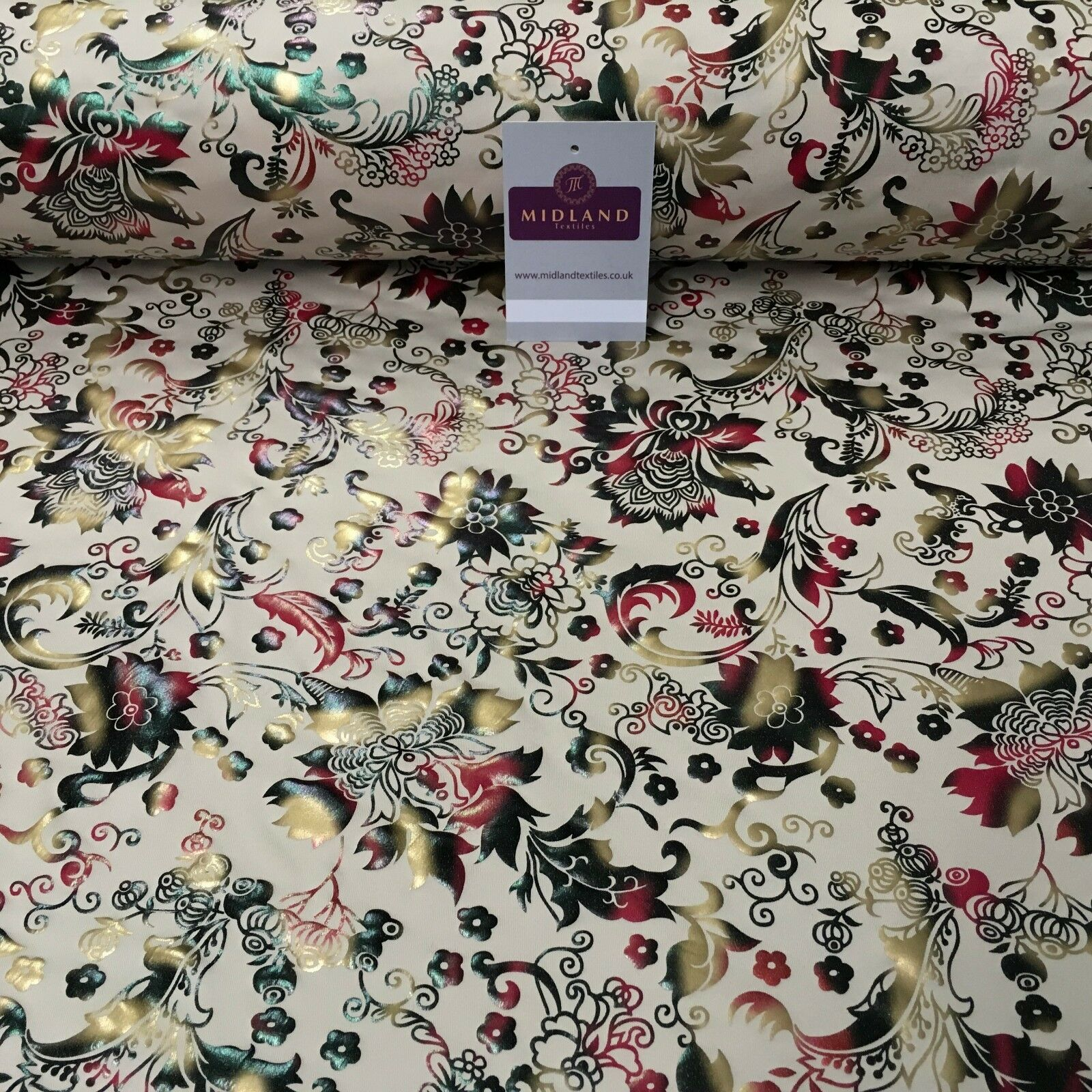 "Beige Multicoloured Floral Foil Print Spandex Jersey Dress fabric 58"" MU1022-1"
