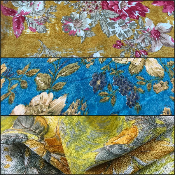 "Lightweight Floral Printed Rayon Crepe dress fabric 39"" wide M664 - Midland Textiles & Fabric"