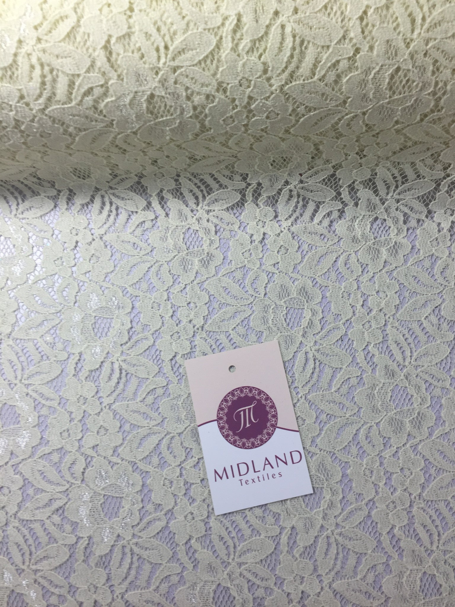 "Floral Soft Lace Semi Transparent 4 way stretch Fabric 55"" wide M186-14 Mtex - Midland Textiles & Fabric"