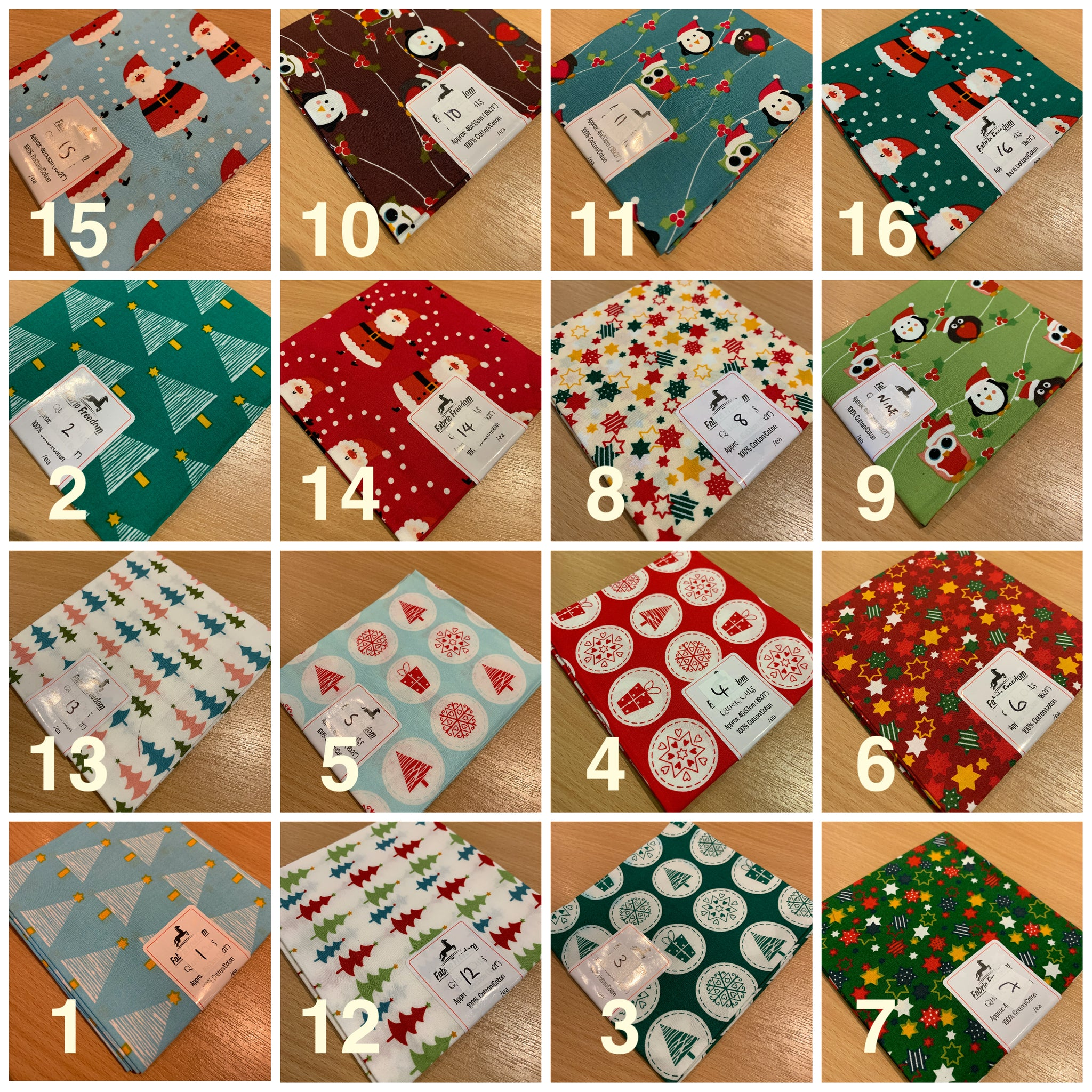 Christmas 100% Cotton pre-cut Fat quarters 46cm x 53cm craft Fabric MK1459