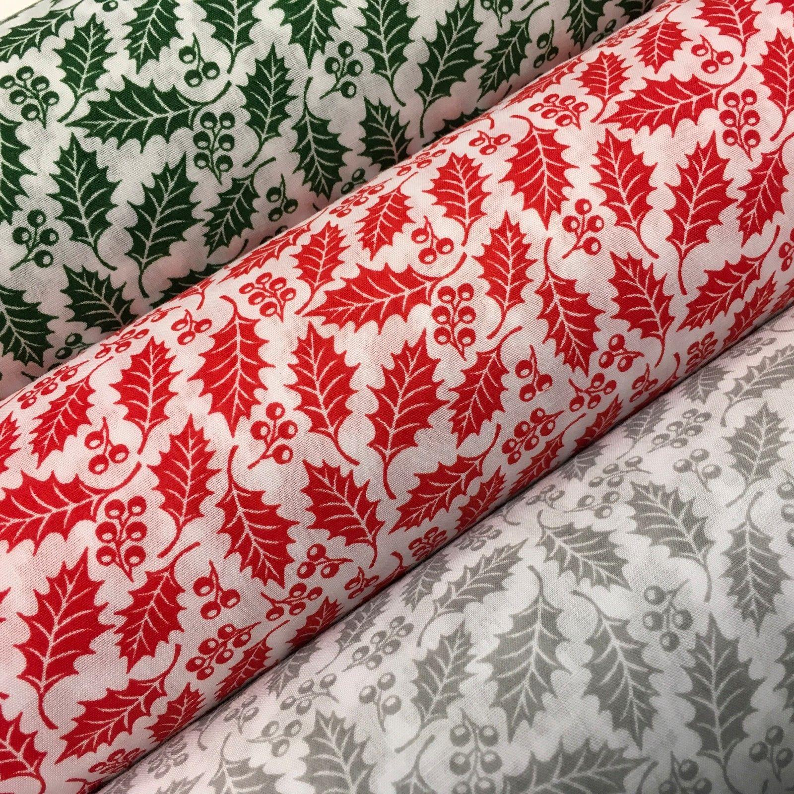 "Christmas Holly Vines and Leaf  poly cotton printed fabric 45"" Wide MD946 Mtex"