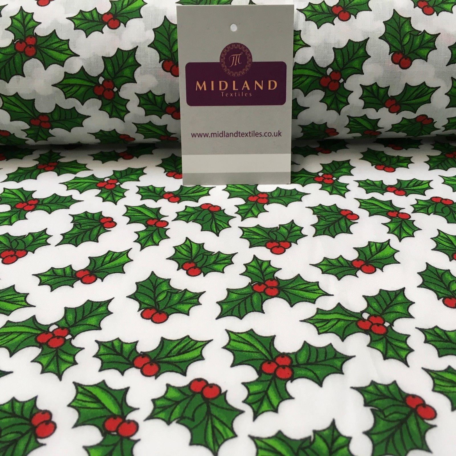 "Holly Berry Leaves Christmas printed Polycotton fabric 45"" Wide MD944 Mtex"