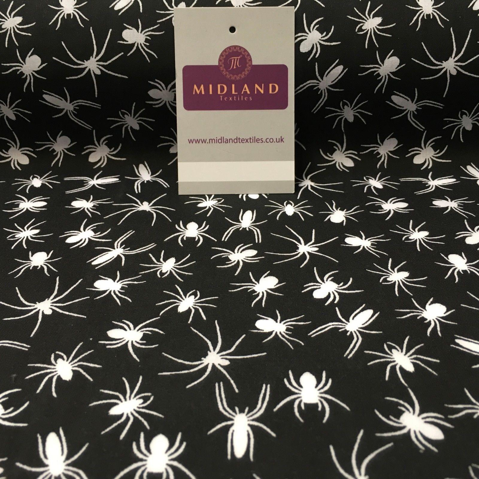 "Halloween Spooky Spider insect Printed poly cotton fabric 45"" Wide MD941 Mtex"