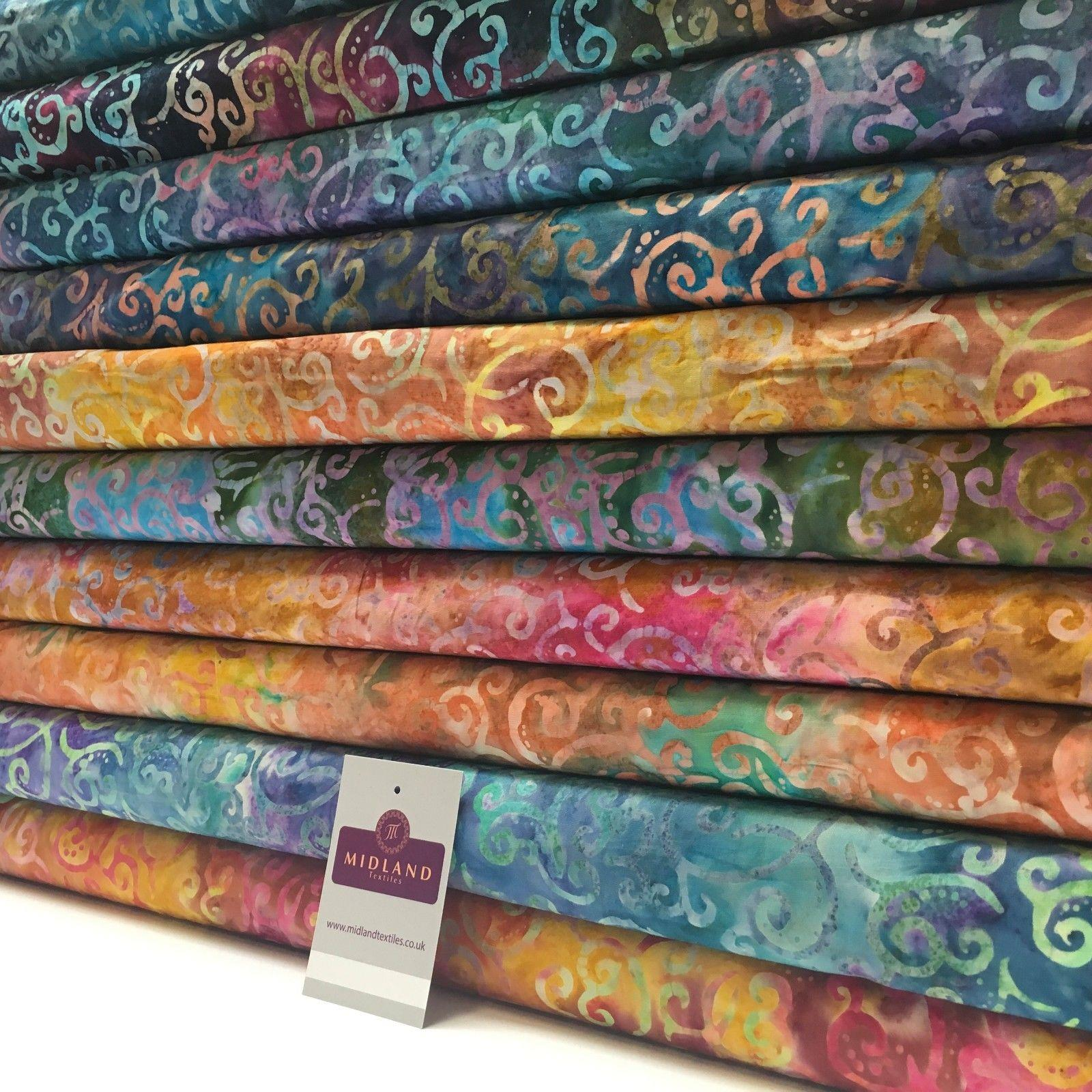 "Bali Batik Swirls and dot Print 100% Cotton Patchwork fabric 44"" Wide MK904"