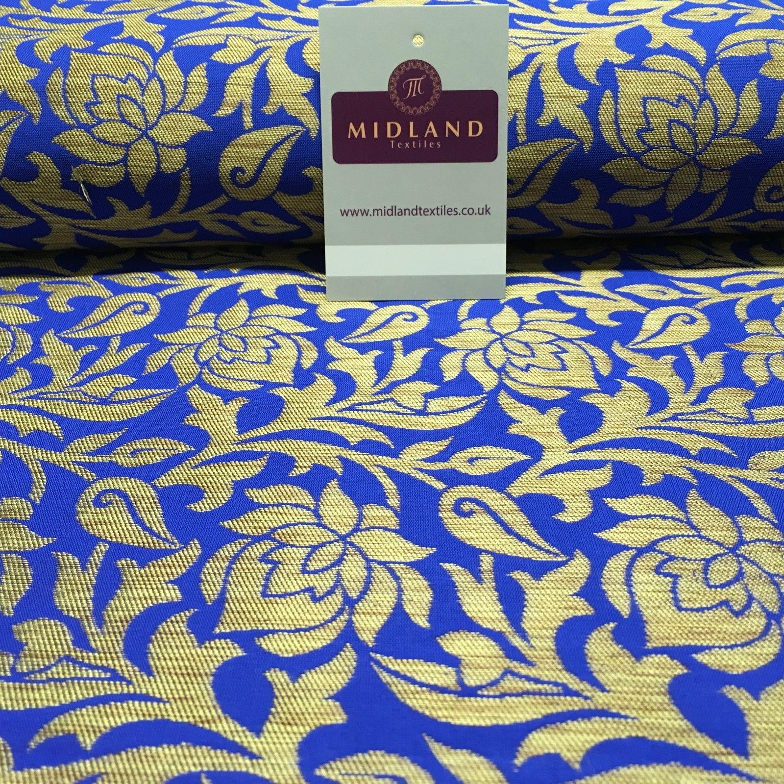 "Indian Floral Gold Banarsi Brocade Faux Silk Waistcoat fabric 50"" Wide MA873"